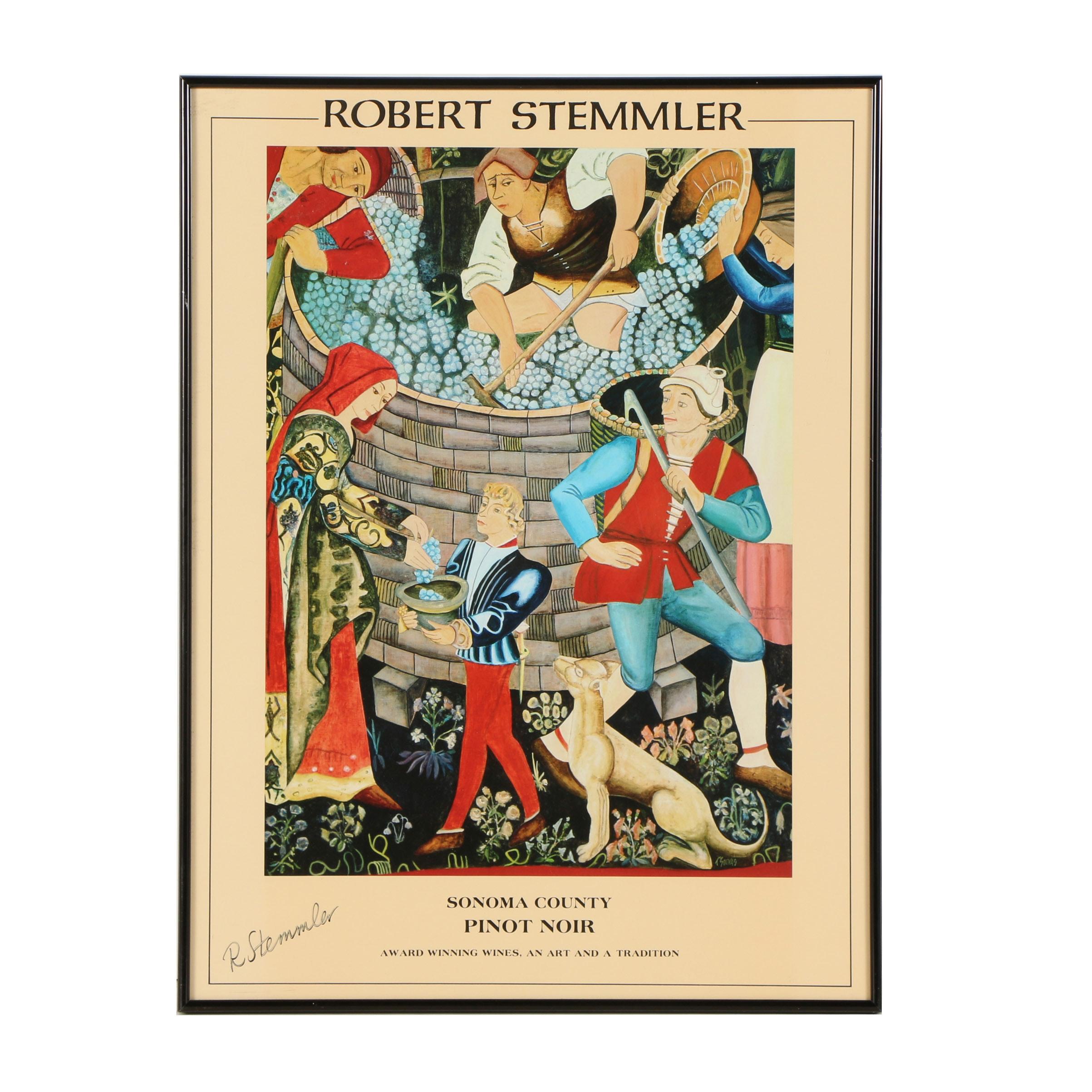 "Robert Stemmler Winery Offset Lithograph Poster ""Sonoma County Pinot Noir"""