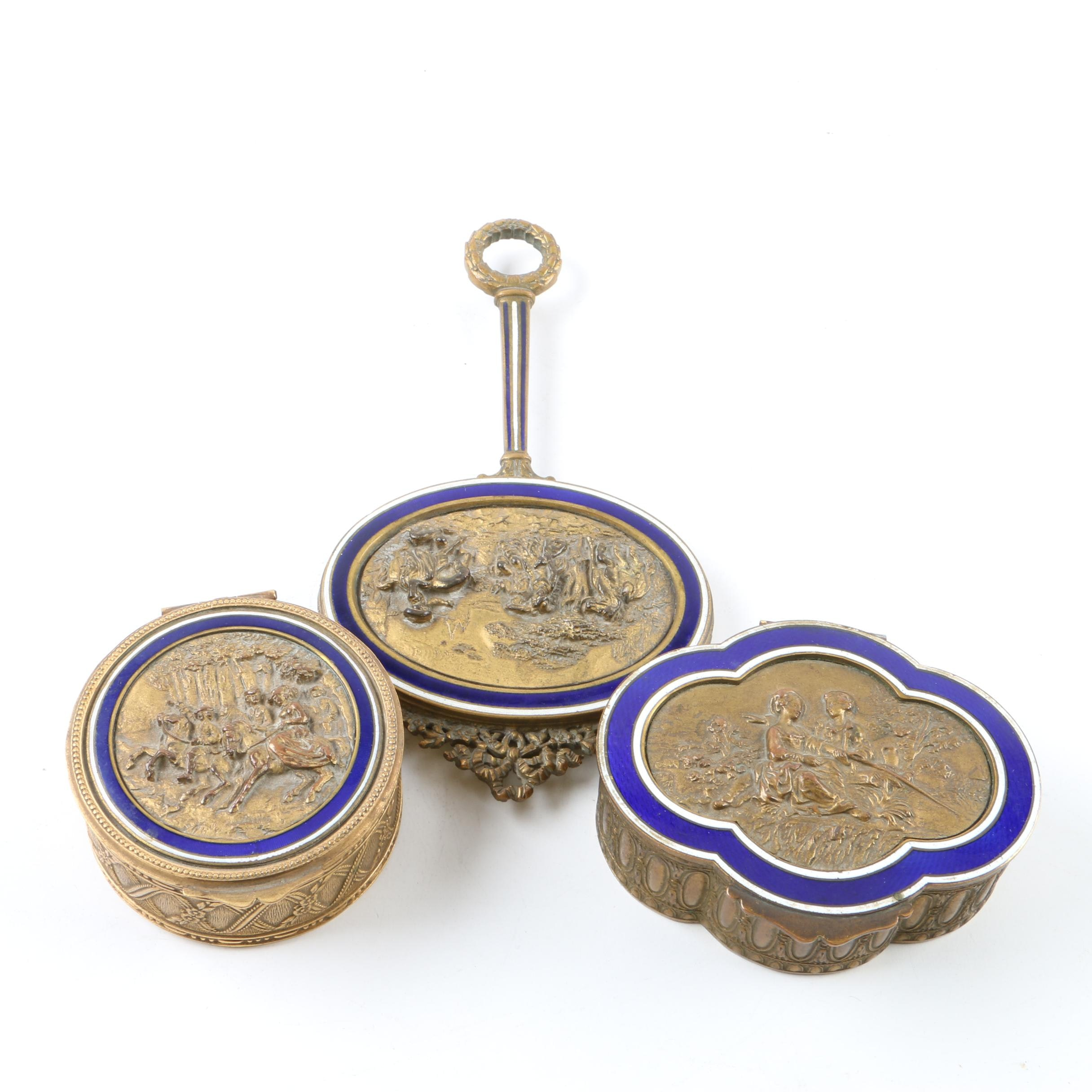 Vintage Rococo Style Brass and Guilloché Enameled Vanity Set