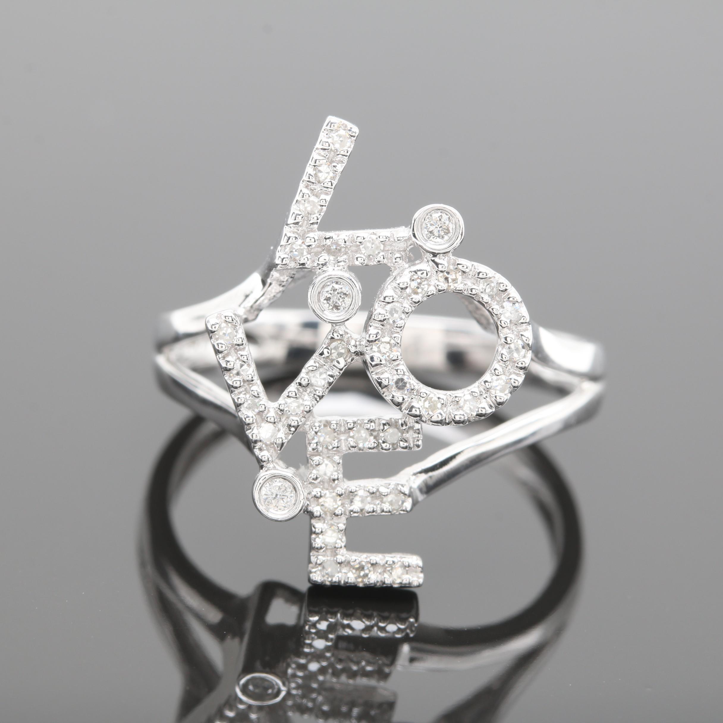 """14K White Gold Diamond """"Love"""" Ring"""