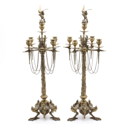 Antique Bronze Candelabrum by French Animalier Sculptor Jules Moigniez