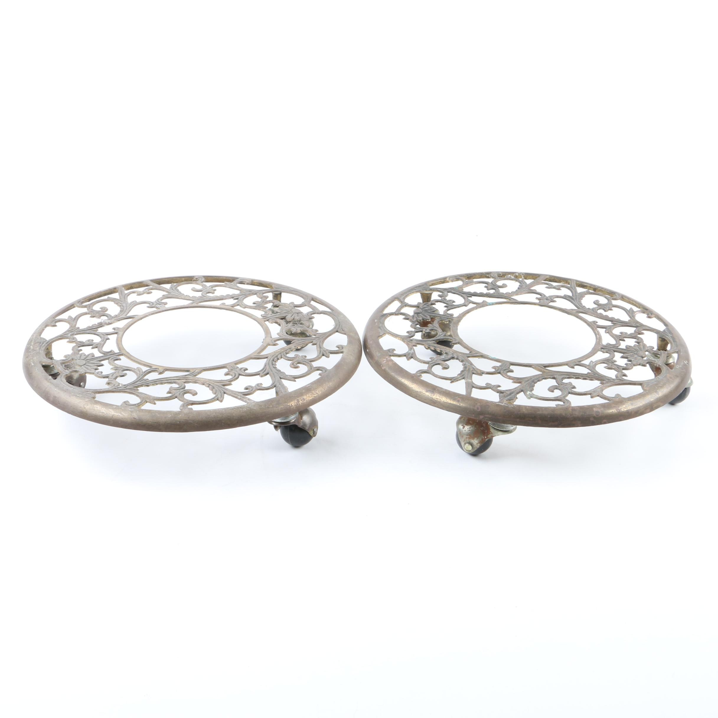 Round Open Metalwork Rolling Planter Stands