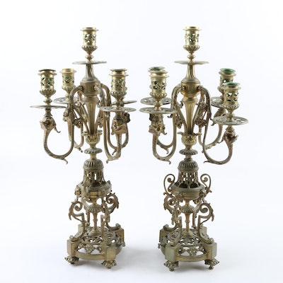 Vintage Cast Brass Girandoles