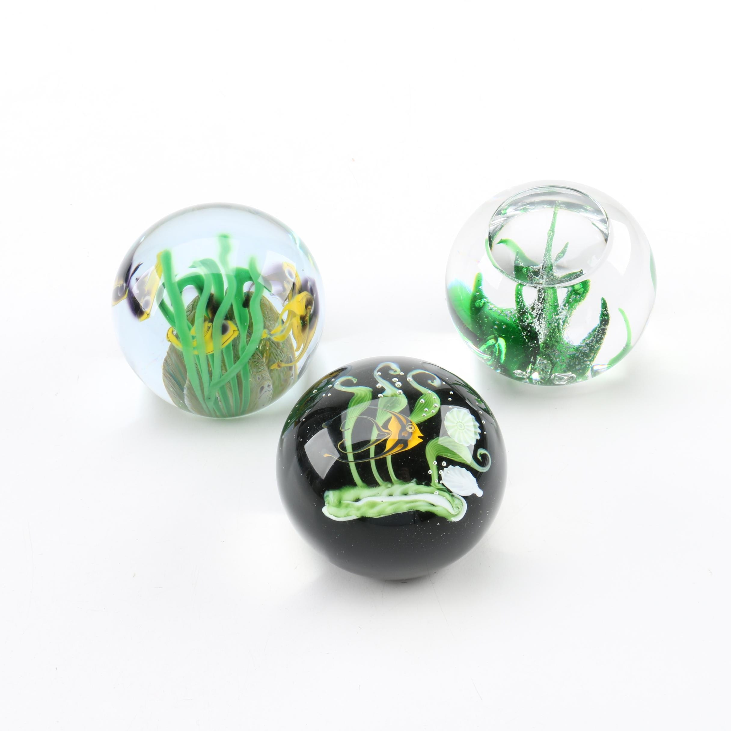 Kosta, Lundberg, and Correia Art Glass Paperweights
