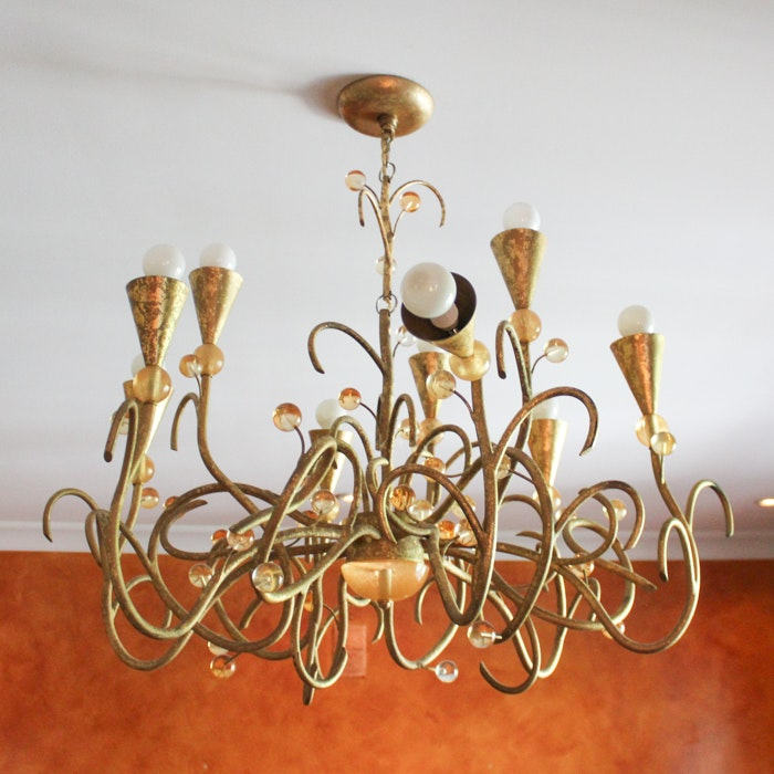 Contemporary Style Chandelier With Orb Embellishments
