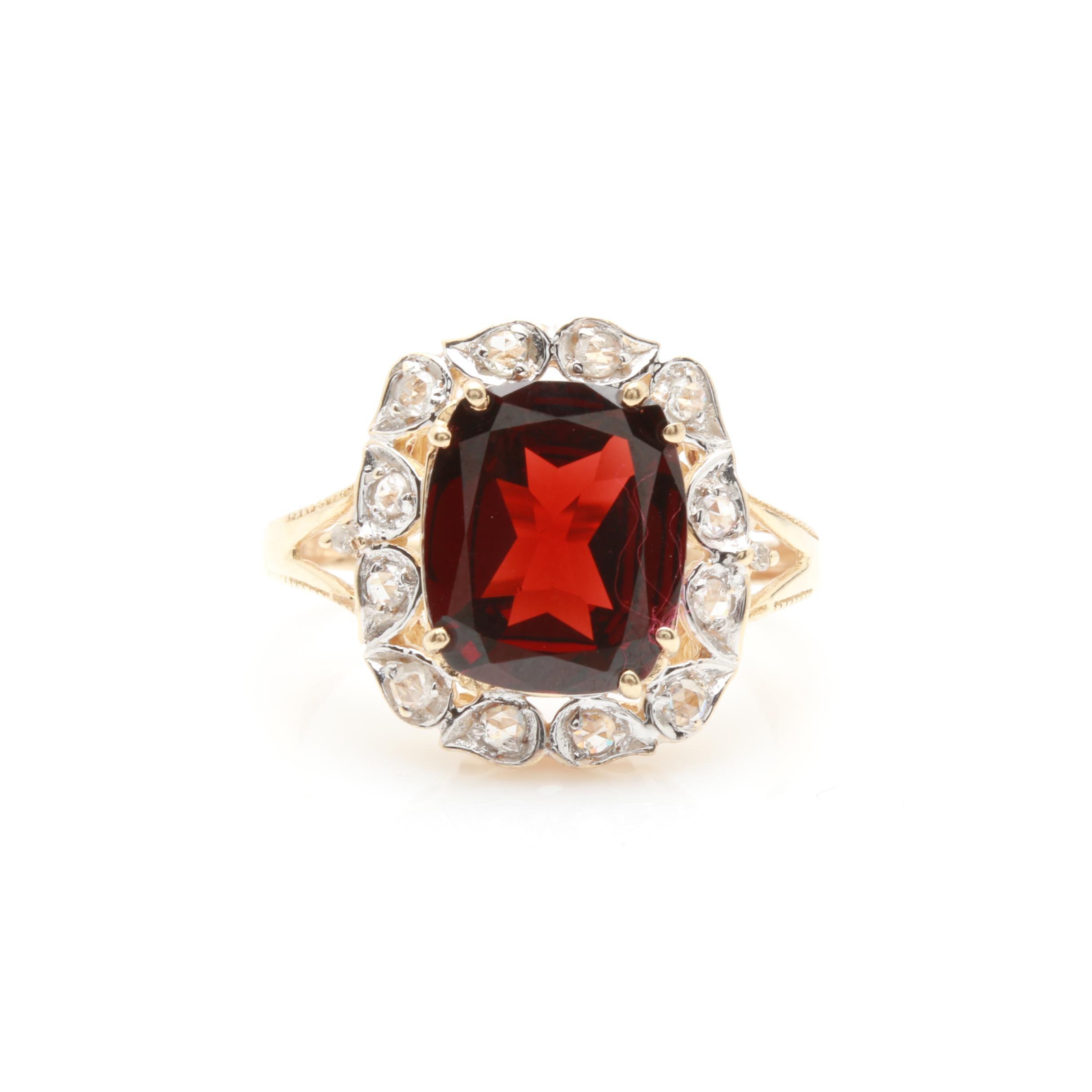 10K Yellow Gold Garnet and Diamond Ring