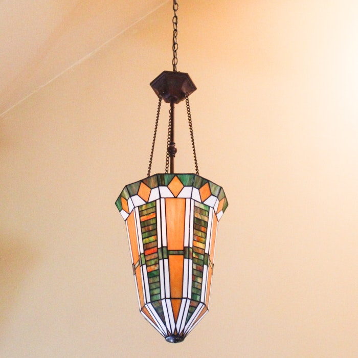 Pendant Light With Arts and Crafts Style Stained Glass Shade
