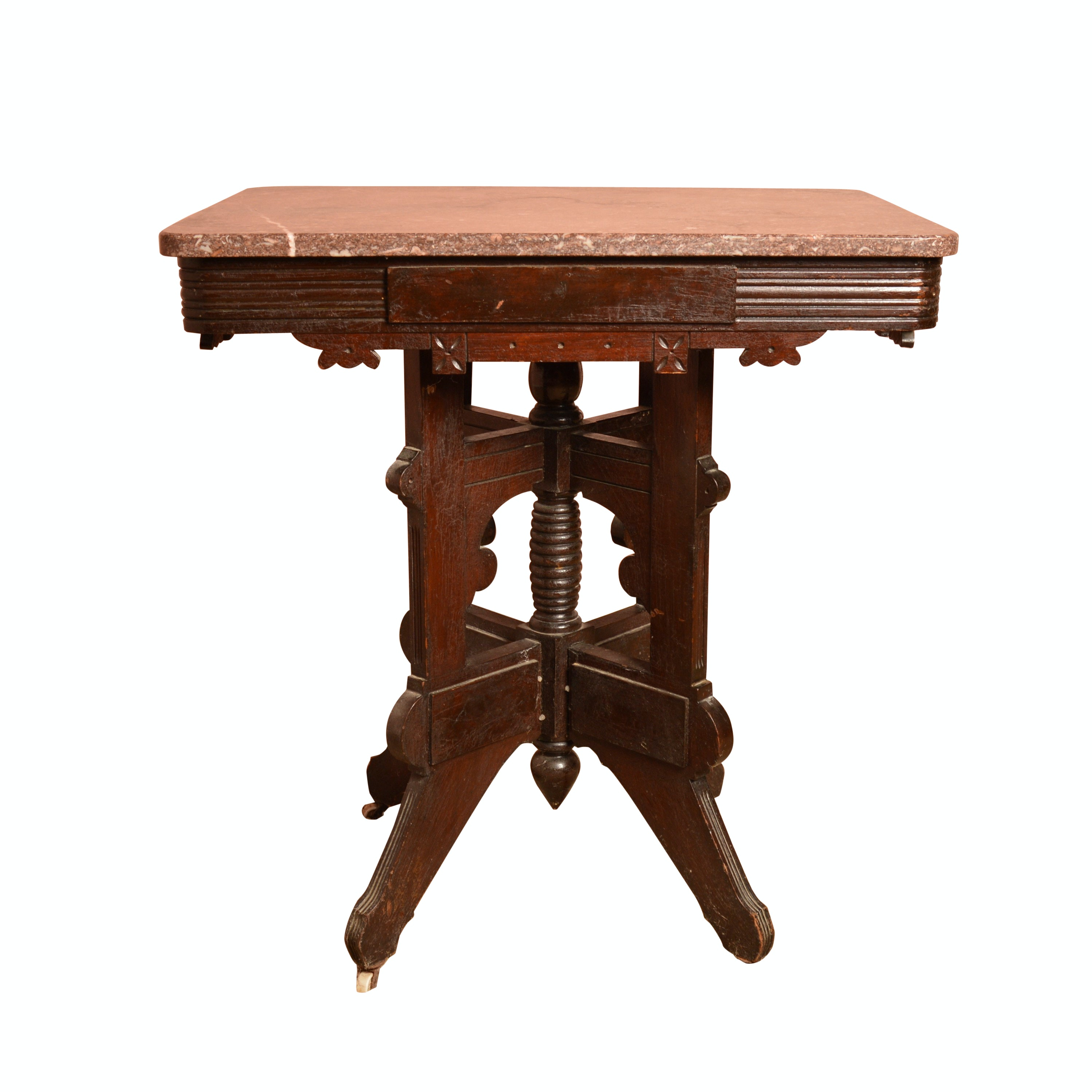 Antique Eastlake Marble Top Accent Table