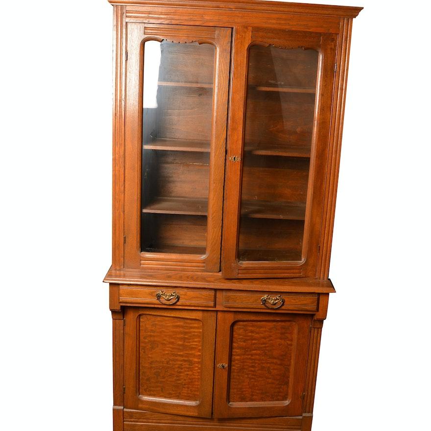 Antique Oak China Cabinet ... - Antique Oak China Cabinet : EBTH