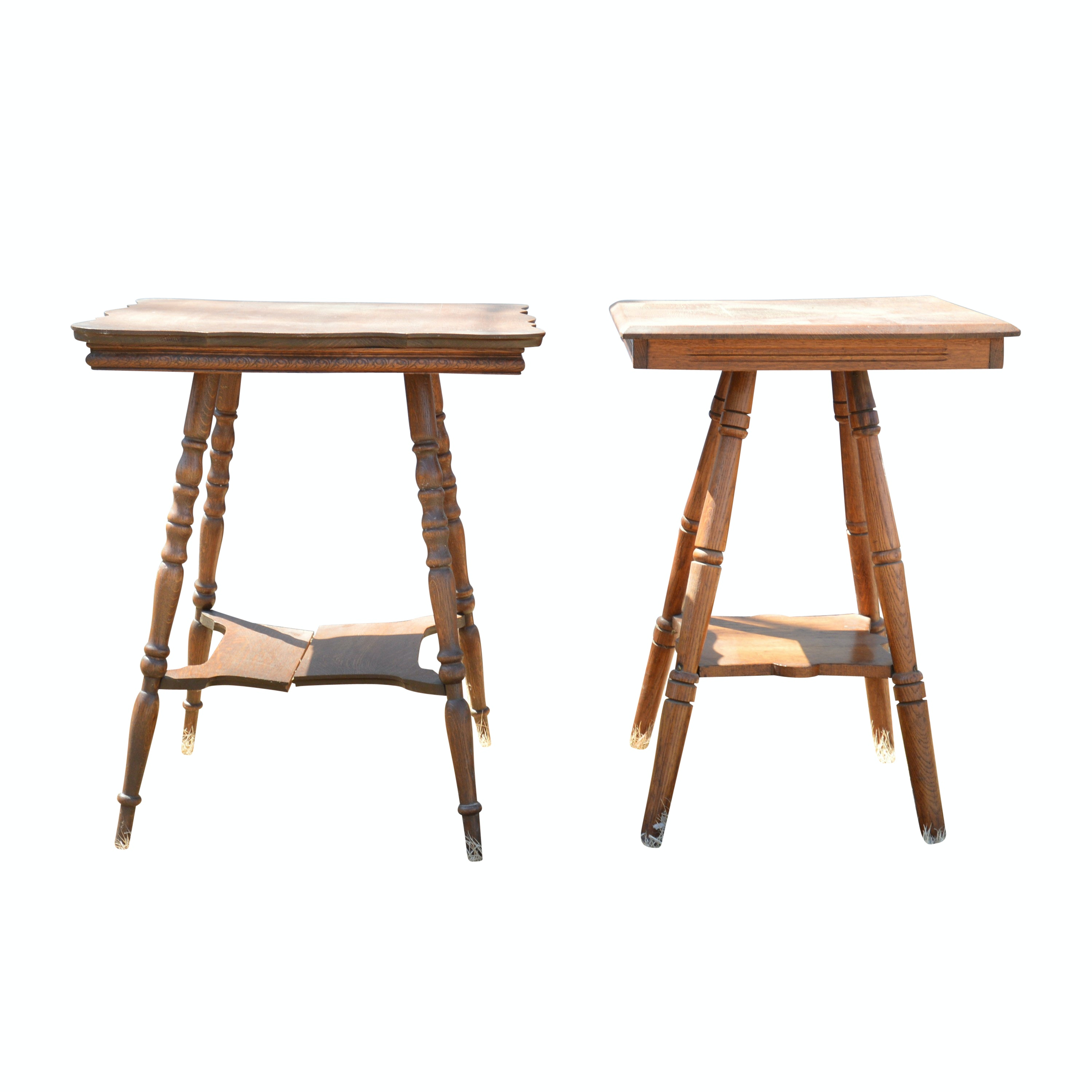 Vintage William and Mary Style Oak Accent Tables