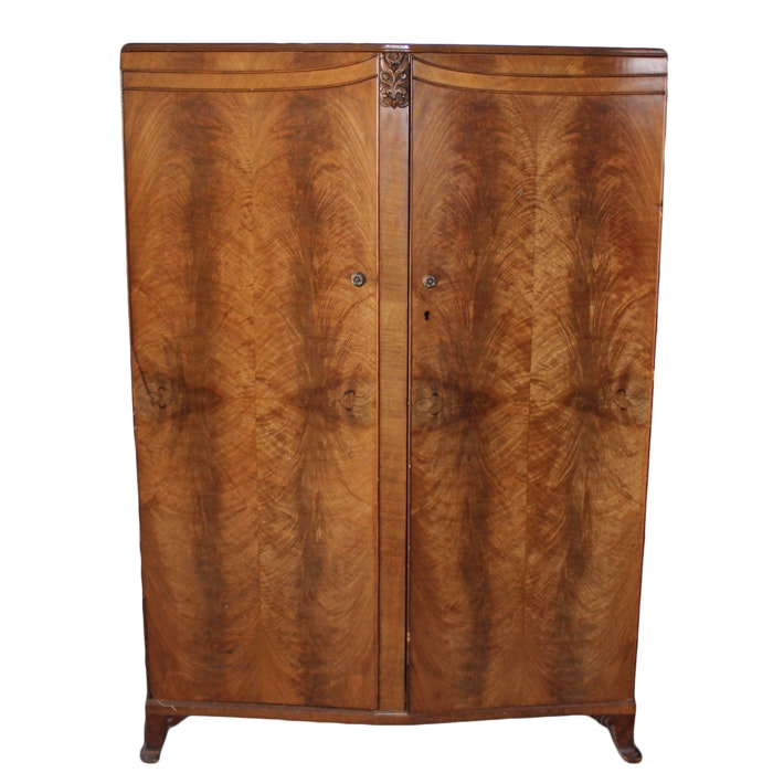 Vintage Art Deco Walnut Wardrobe