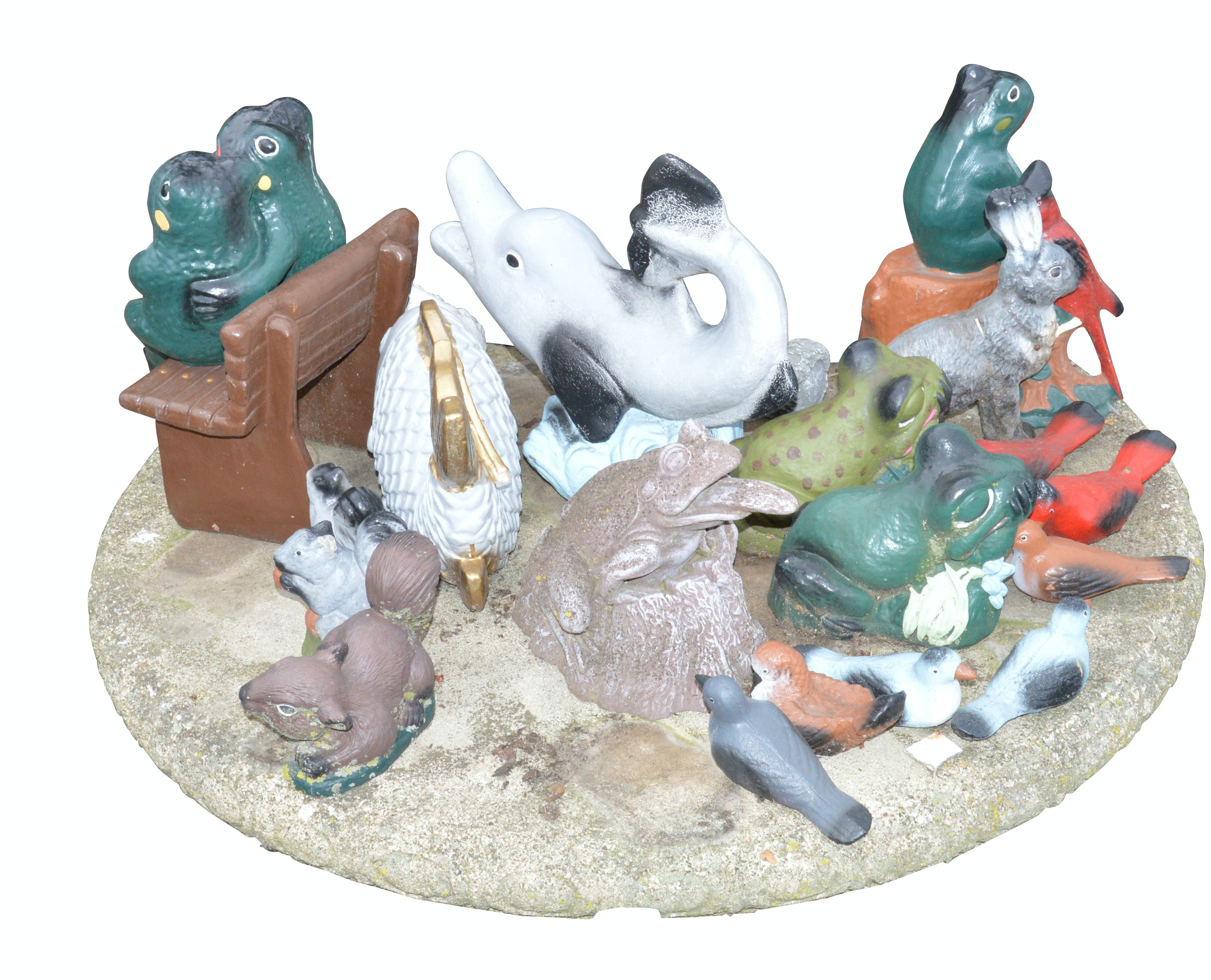 Assorted Stoneware Animal Statues with Concrete Table