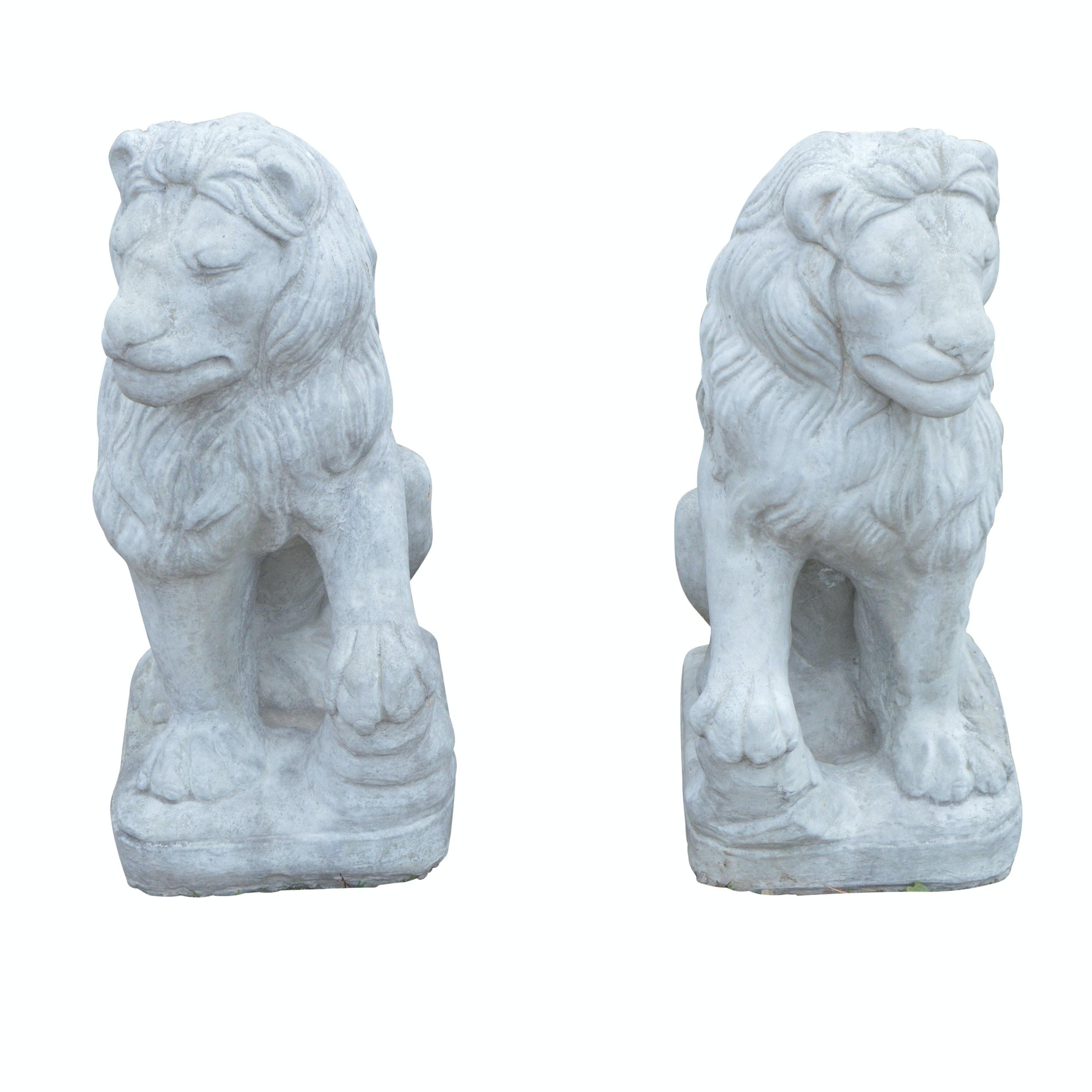 Cast Stone Lion Garden Statues