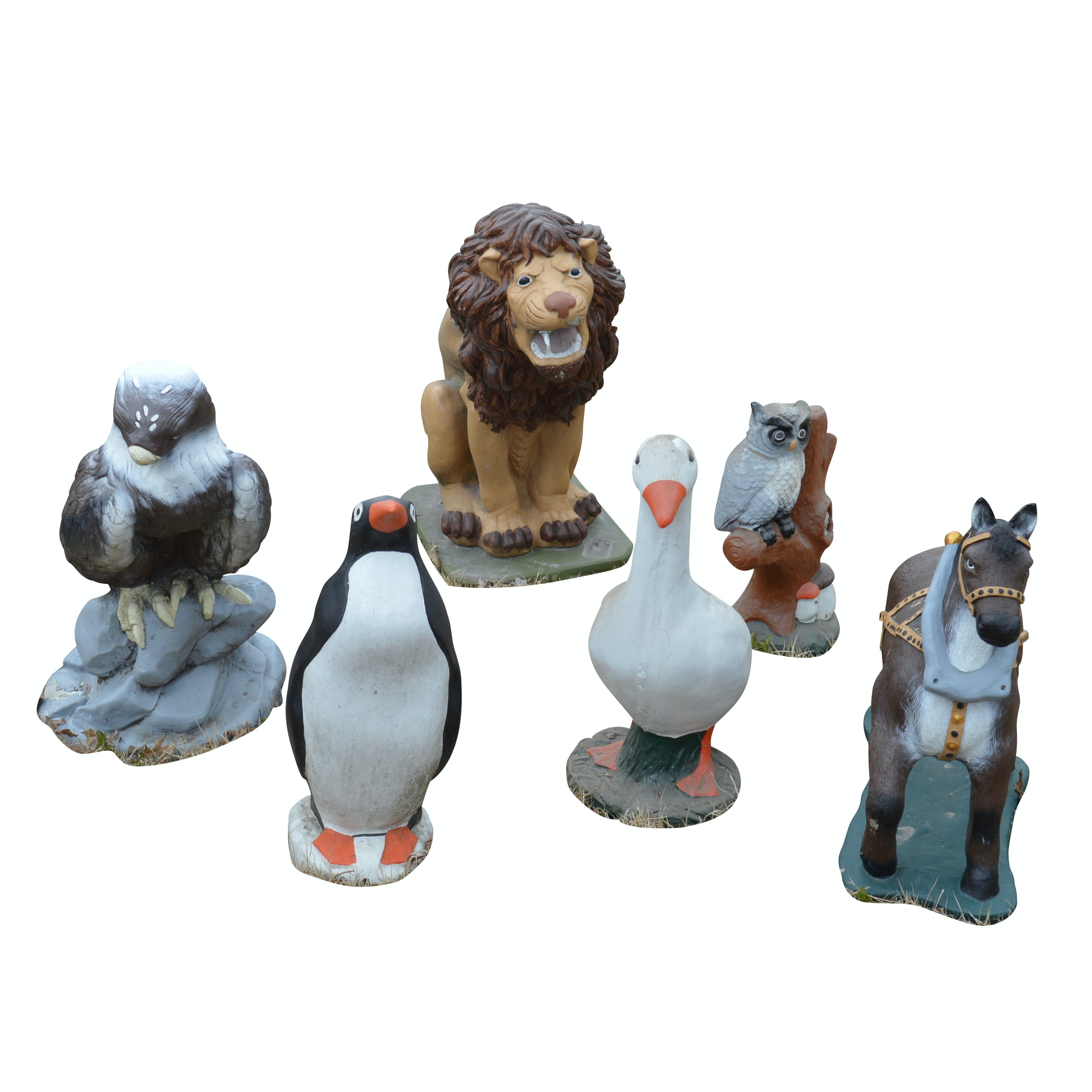 Cement Animal Statues Including Birds