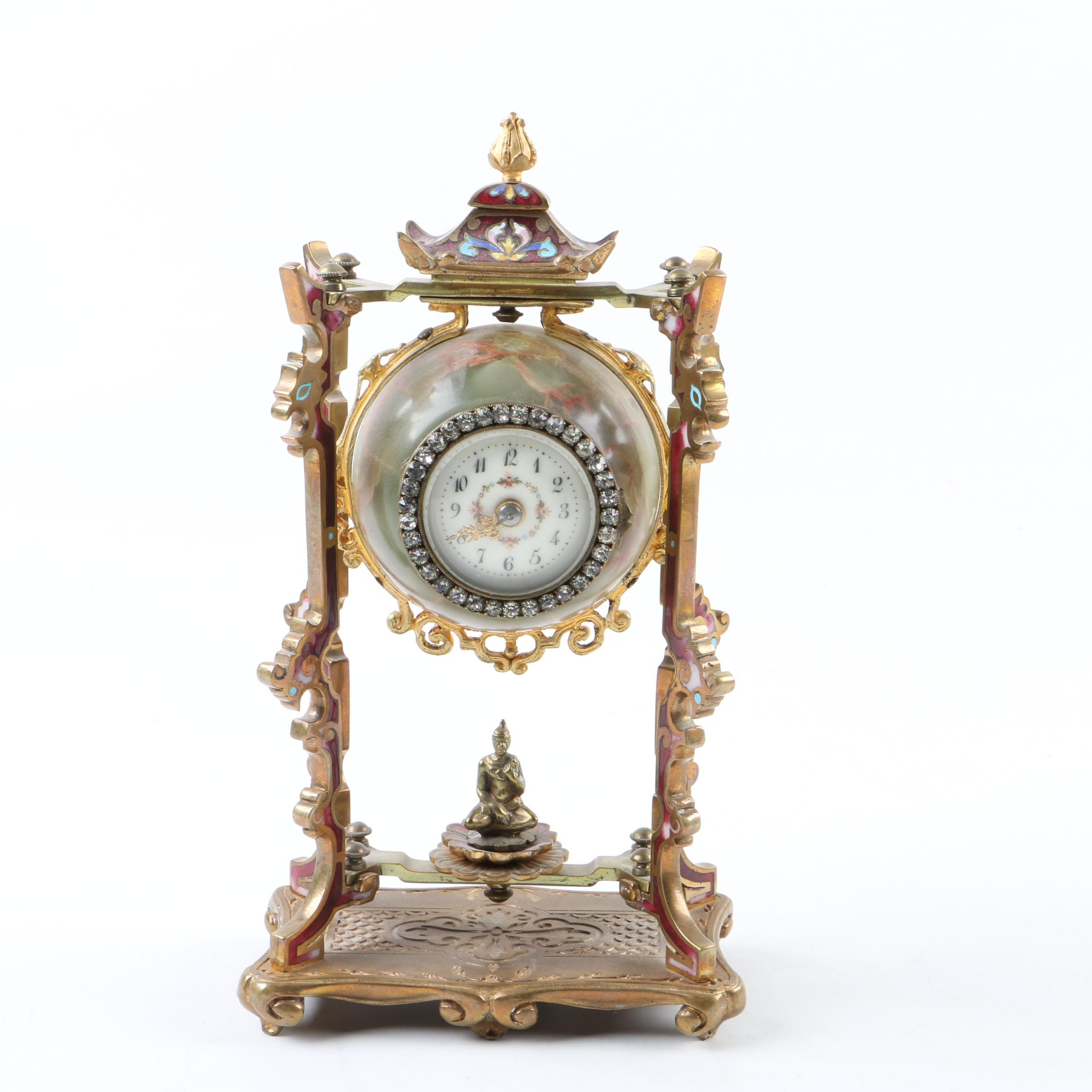 Decorative Brass Mantel Clock with Rhinestone Accents