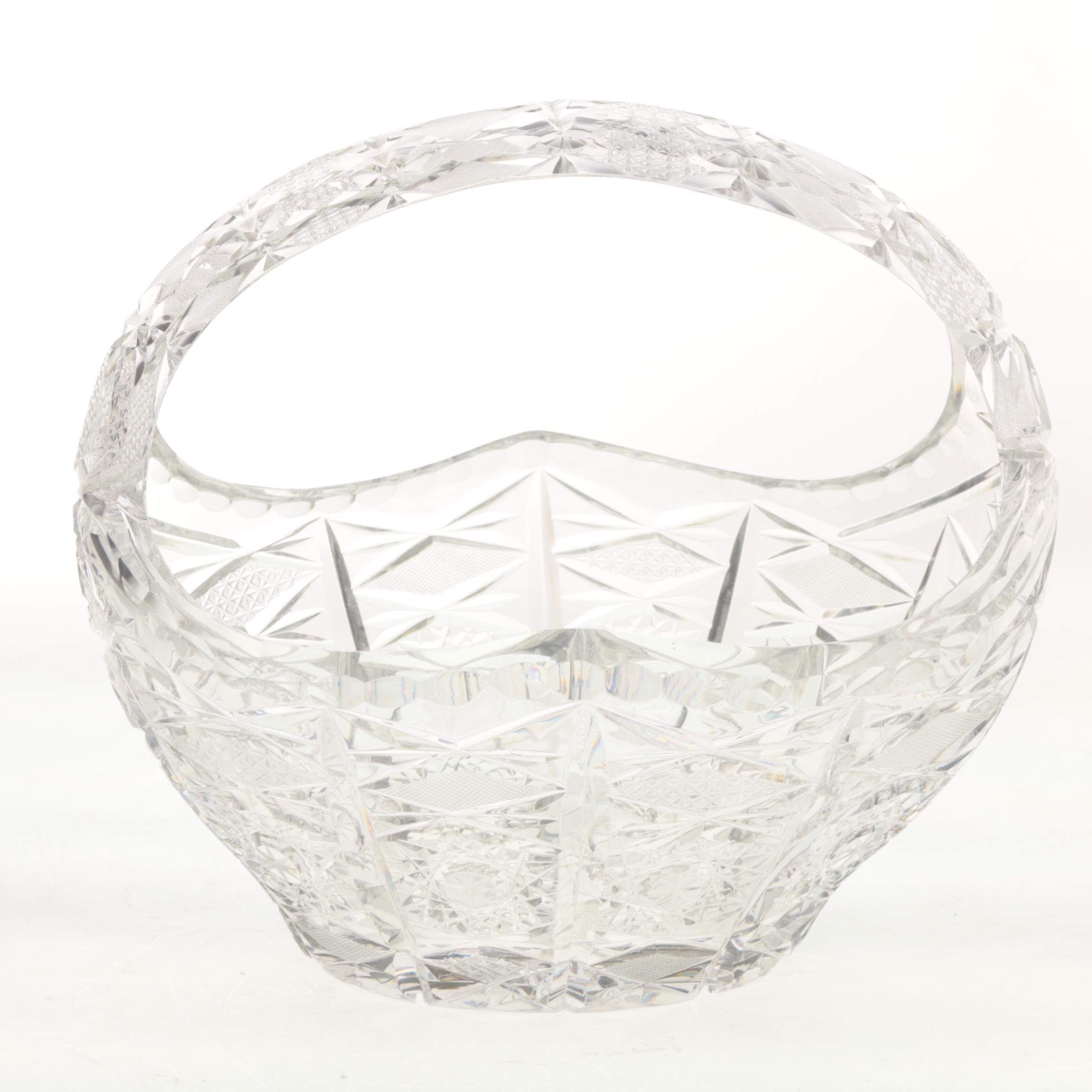 Vintage Eastern European Cut Crystal Basket