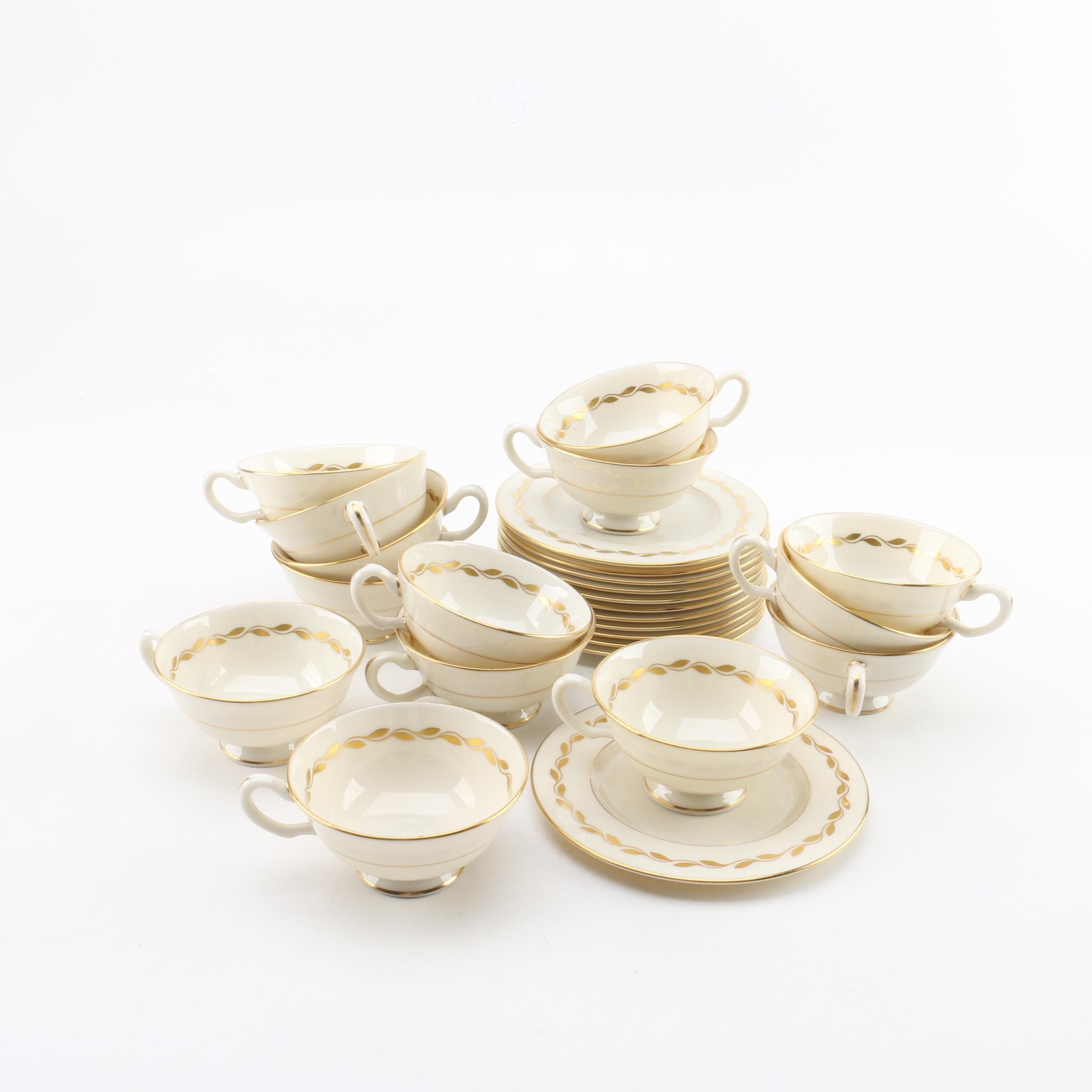 """Lenox """"Lonsdale"""" Teacups and Plates"""