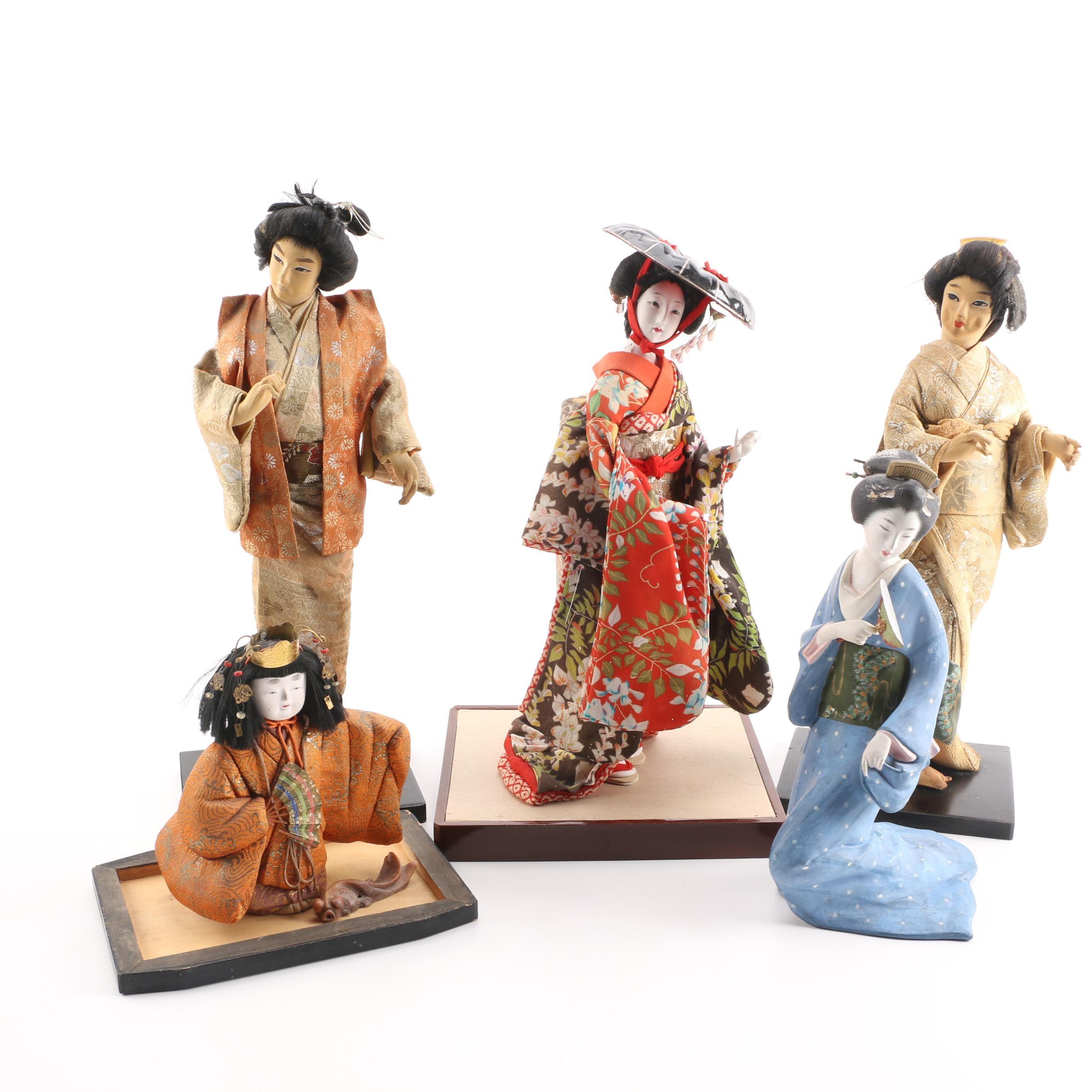 Vintage Japanese Folk Art and Souvenir Dolls