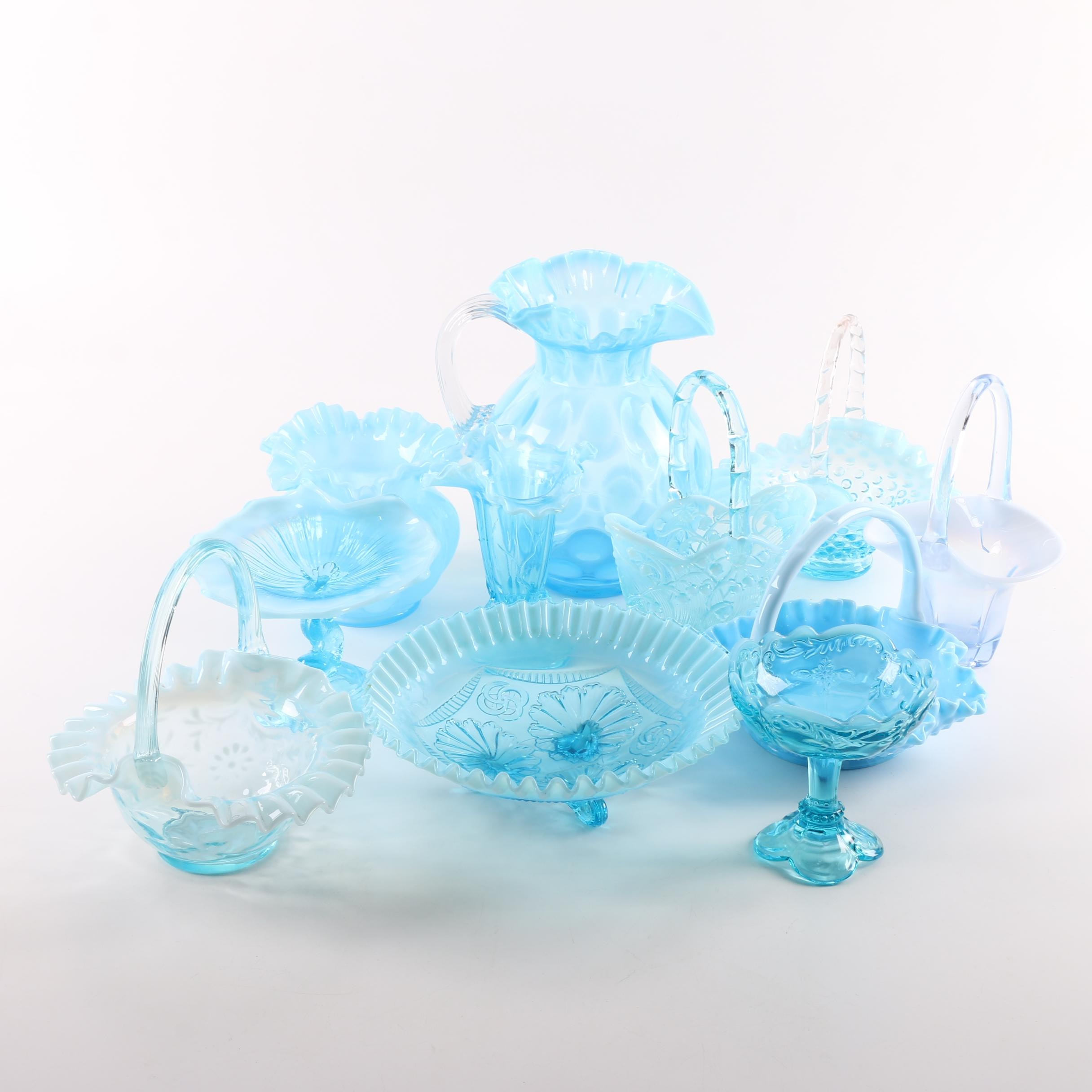 Collection of Victorian Style Glass Compotes and Baskets