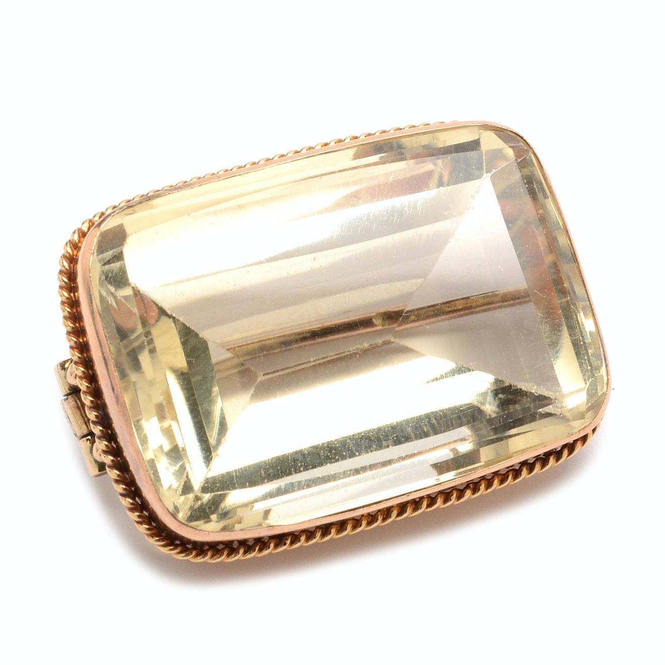 Antique 14K Rose Gold Citrine Brooch