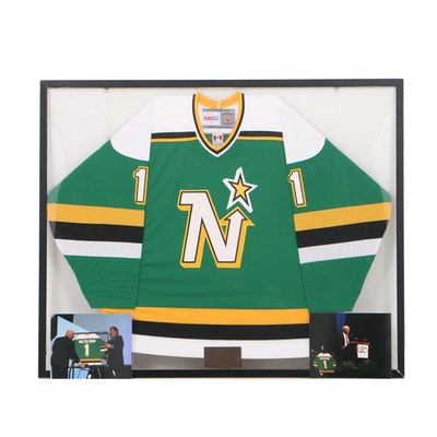 Commemorative Framed Walter Bush Minnesota North Stars Hockey Jersey