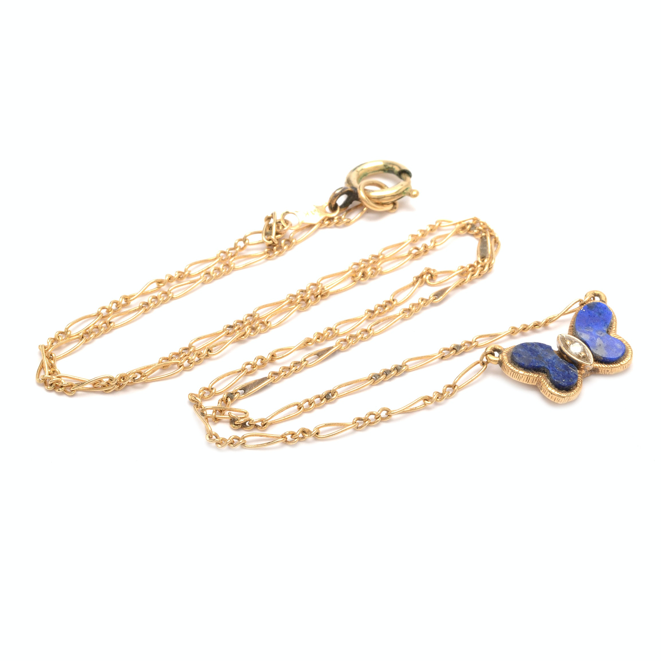 14K Yellow Gold Lapis Lazuli Diamond Butterfly Pendant Necklace
