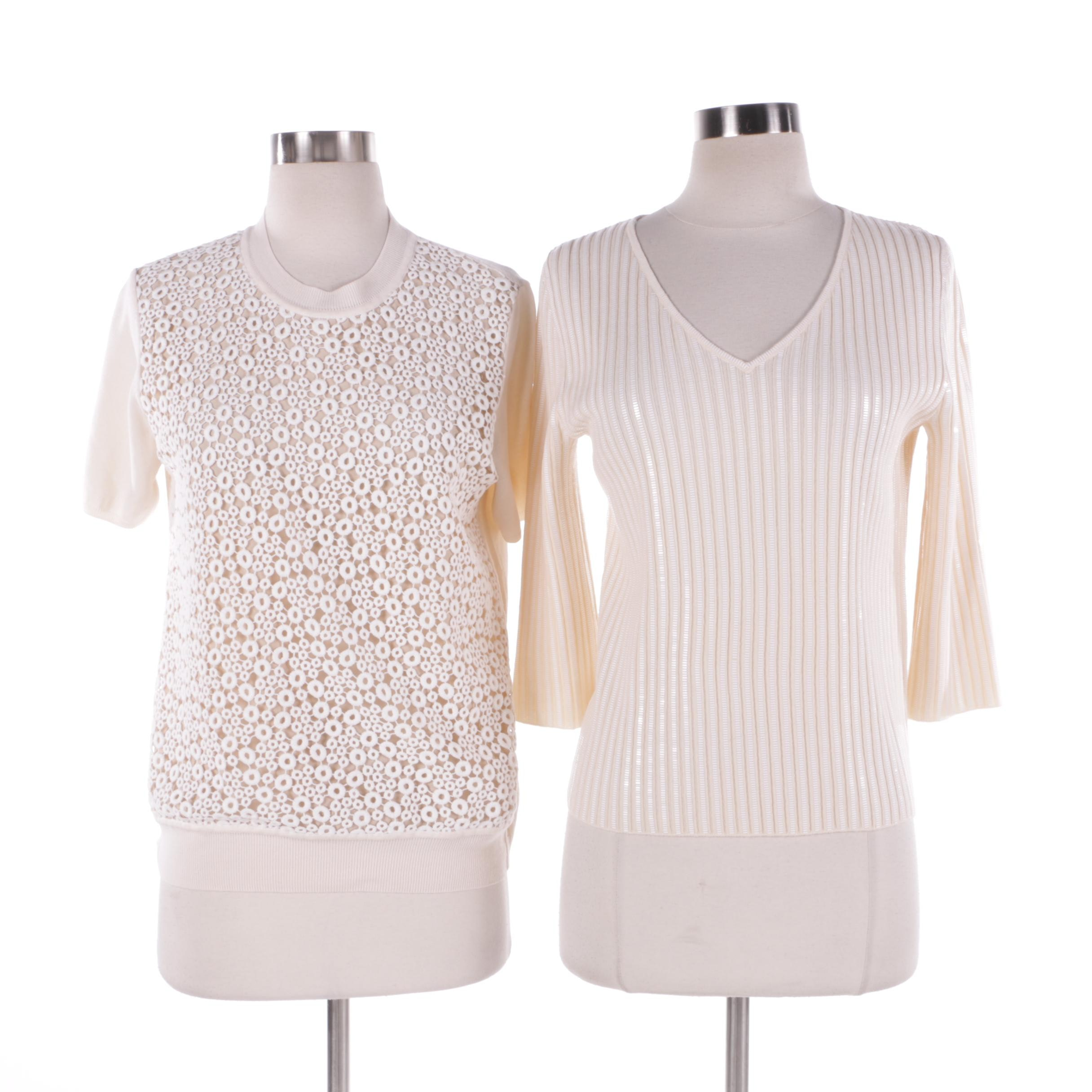 Chloé and St. John Evening Knit Tops in Cream