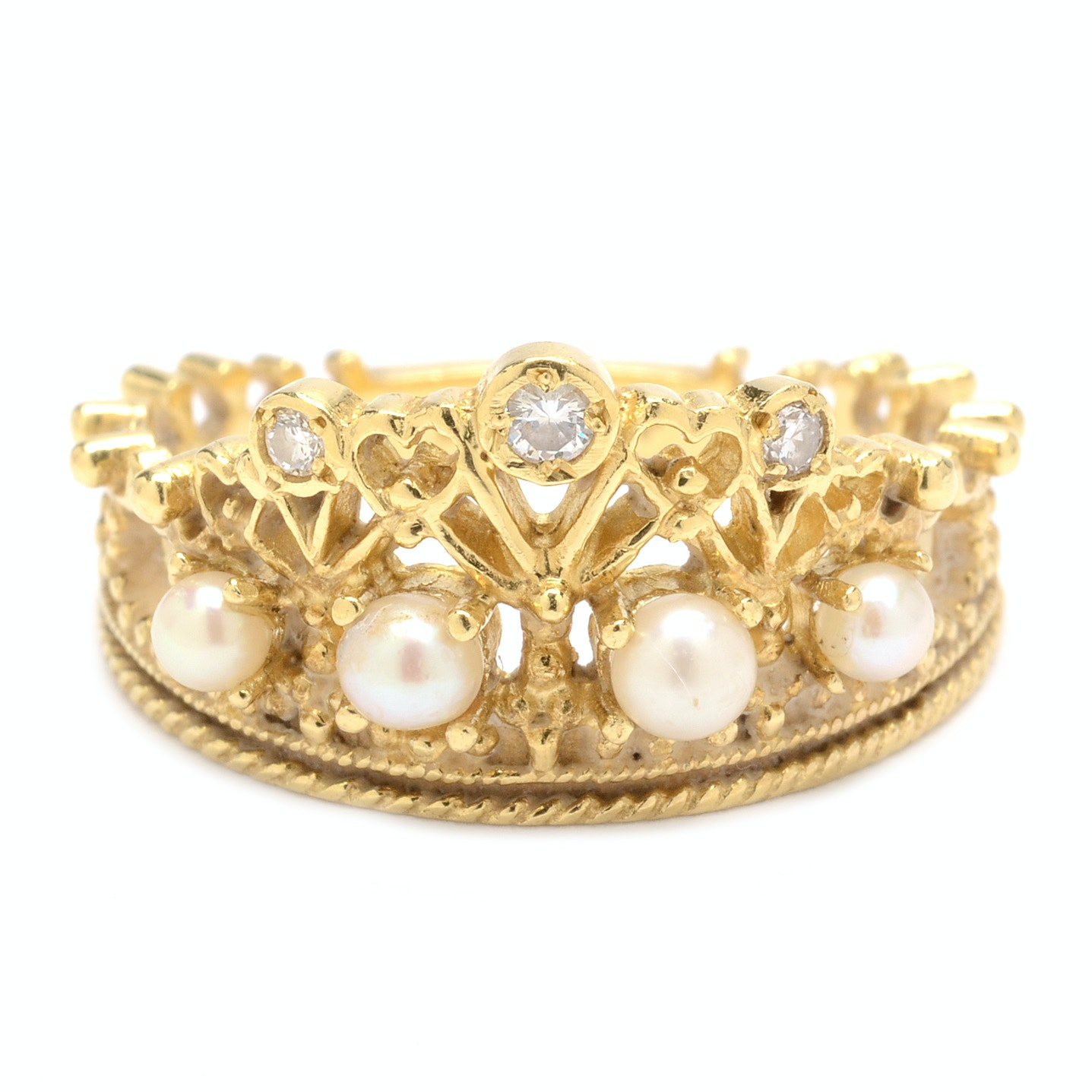 18K Gold Diamond and Pearl Franklin Mint Princess Diana Tiara Ring