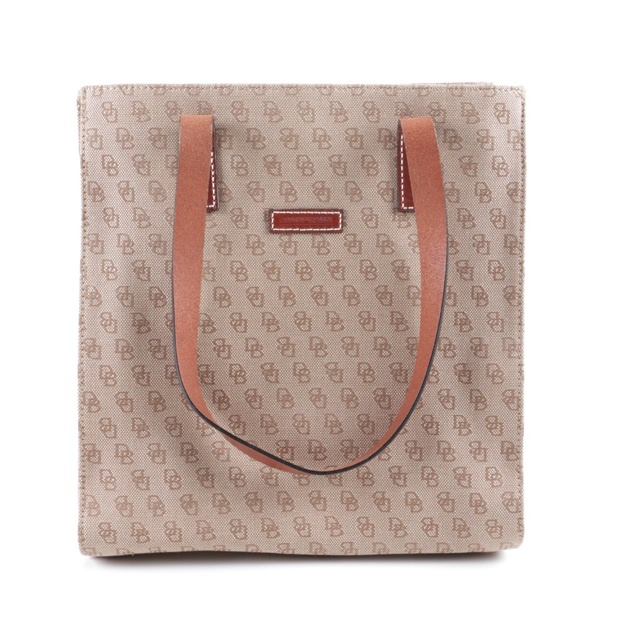 d60774928163 Dooney   Bourke Signature Jacquard and Leather Tote Handbag   EBTH