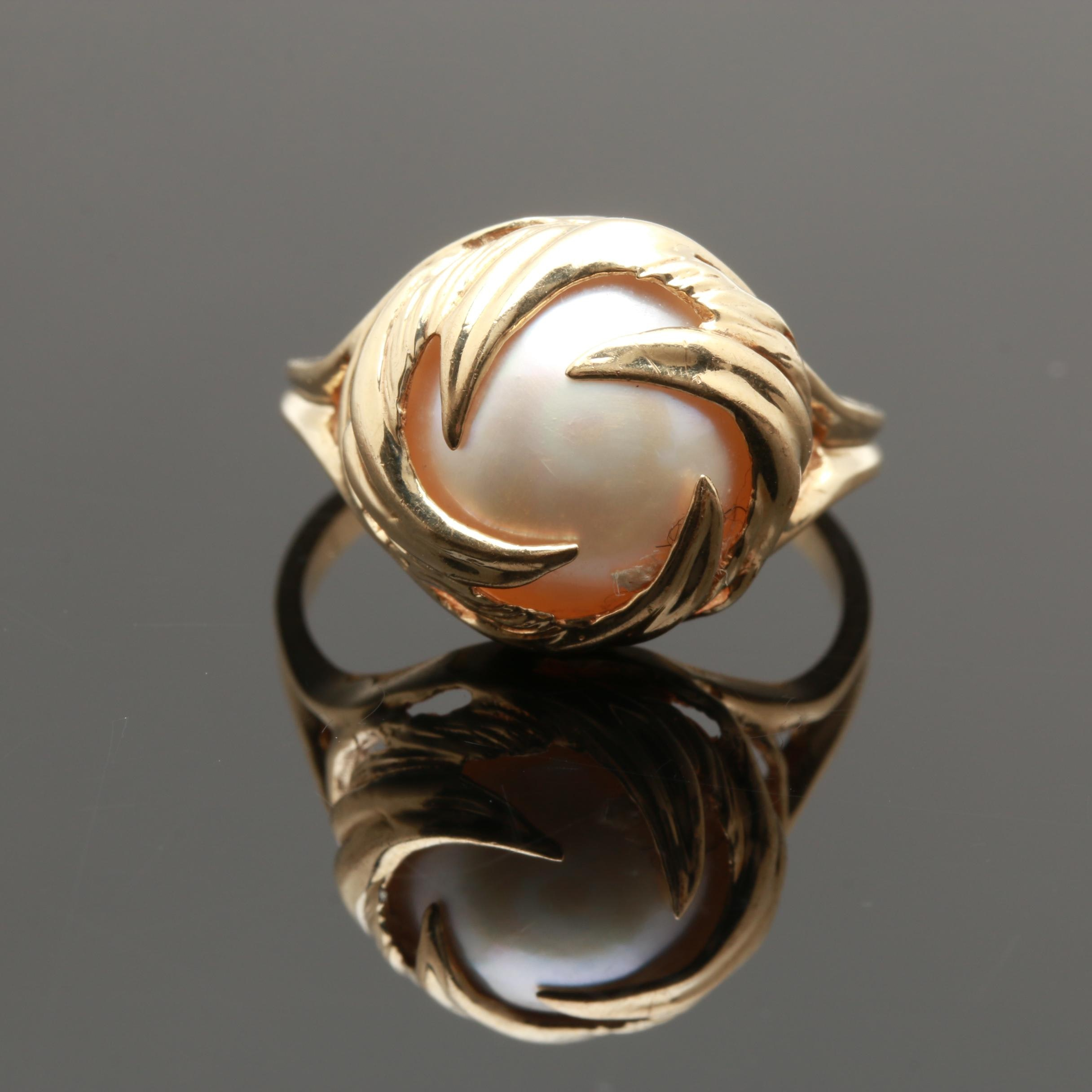 10K Yellow Gold Cultured Mabe Pearl Ring