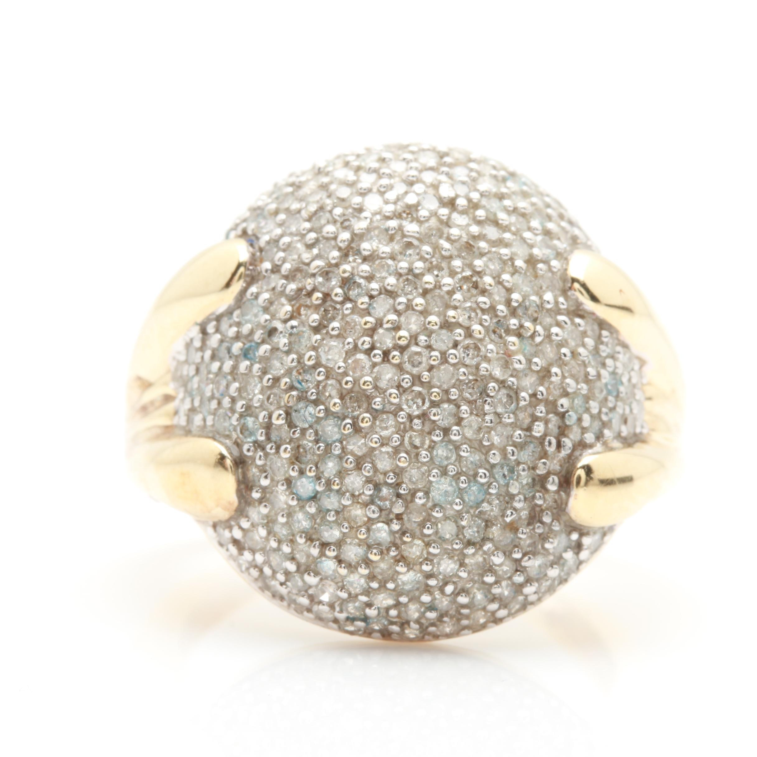 10K Yellow Gold 1.00 CTW Diamond Statement Ring