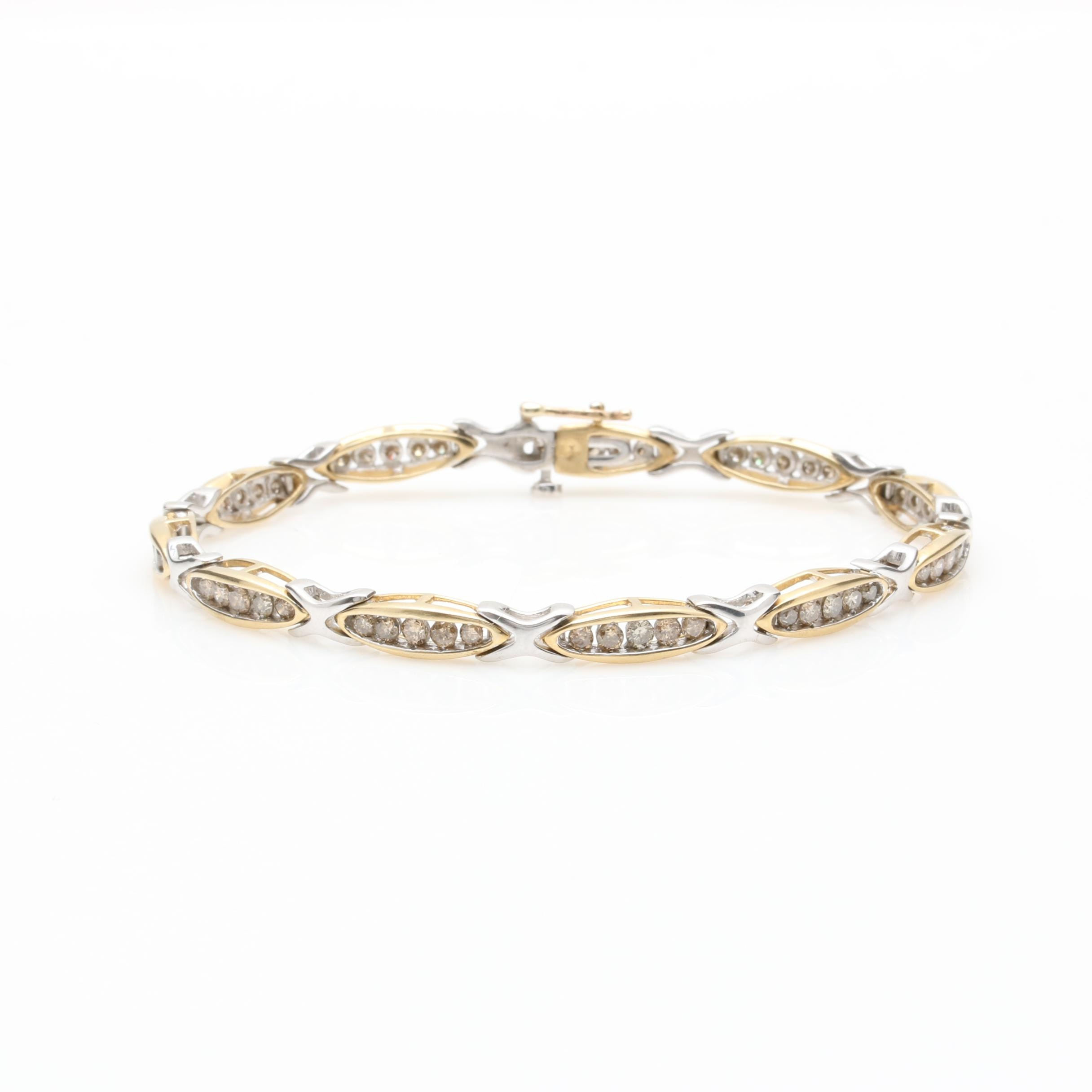10K Yellow Gold 1.75 CTW Diamond Link Bracelet with 10K White Gold Accents