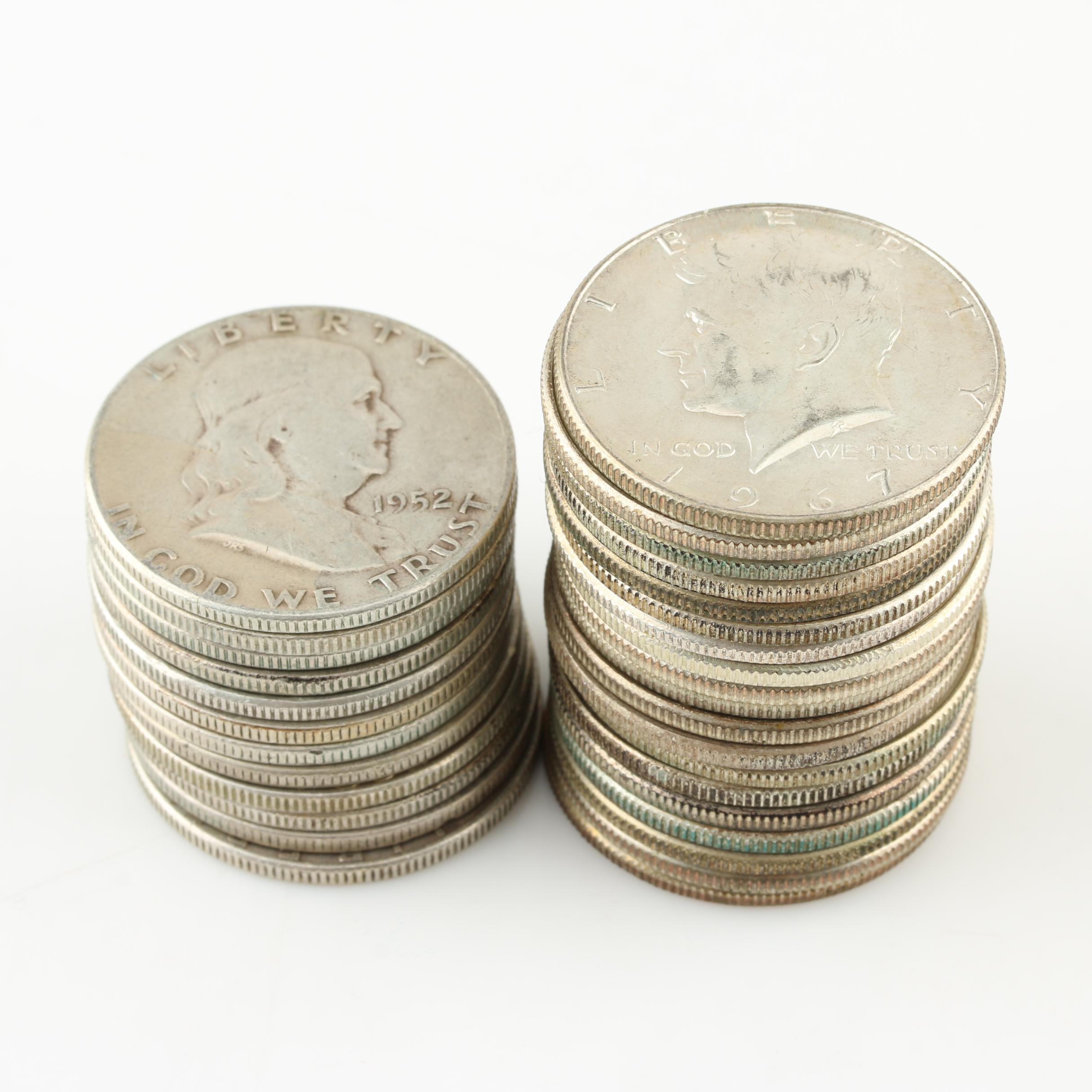 Thirty-One Vintage U.S. Silver Half Dollars