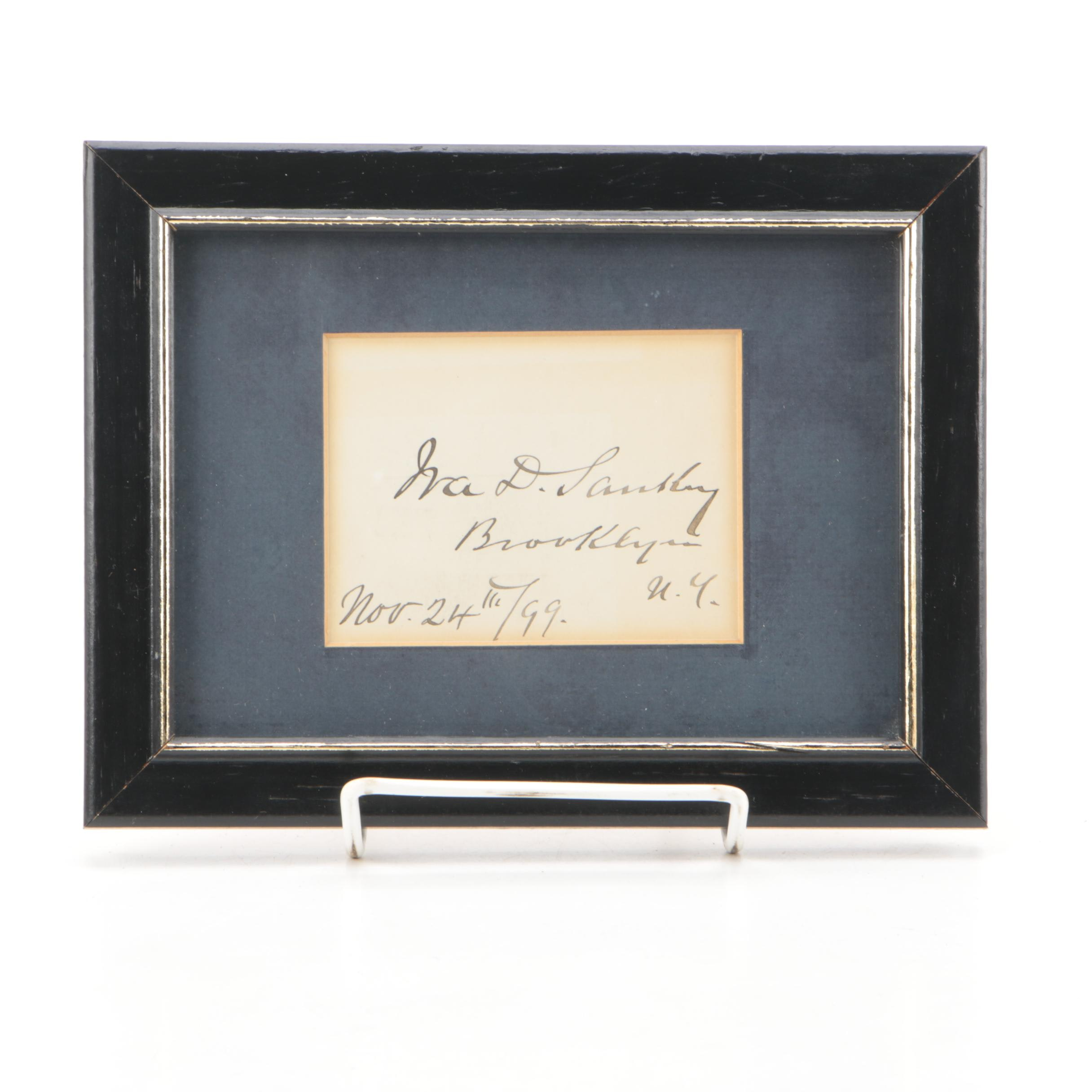 Composer Ira D. Sankey Framed Signature