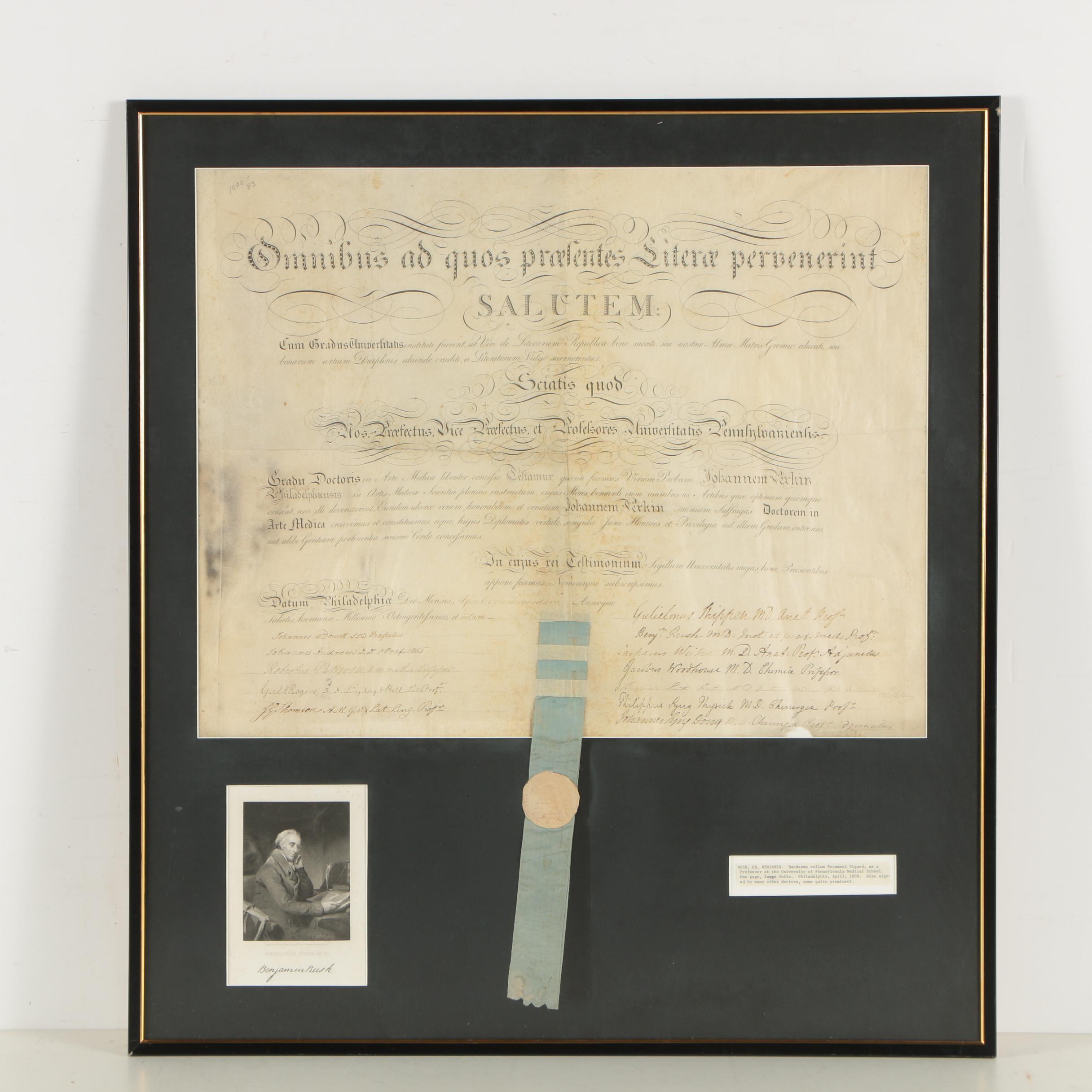 Benjamin Rush Signed University of Pennsylvania Medical Diploma