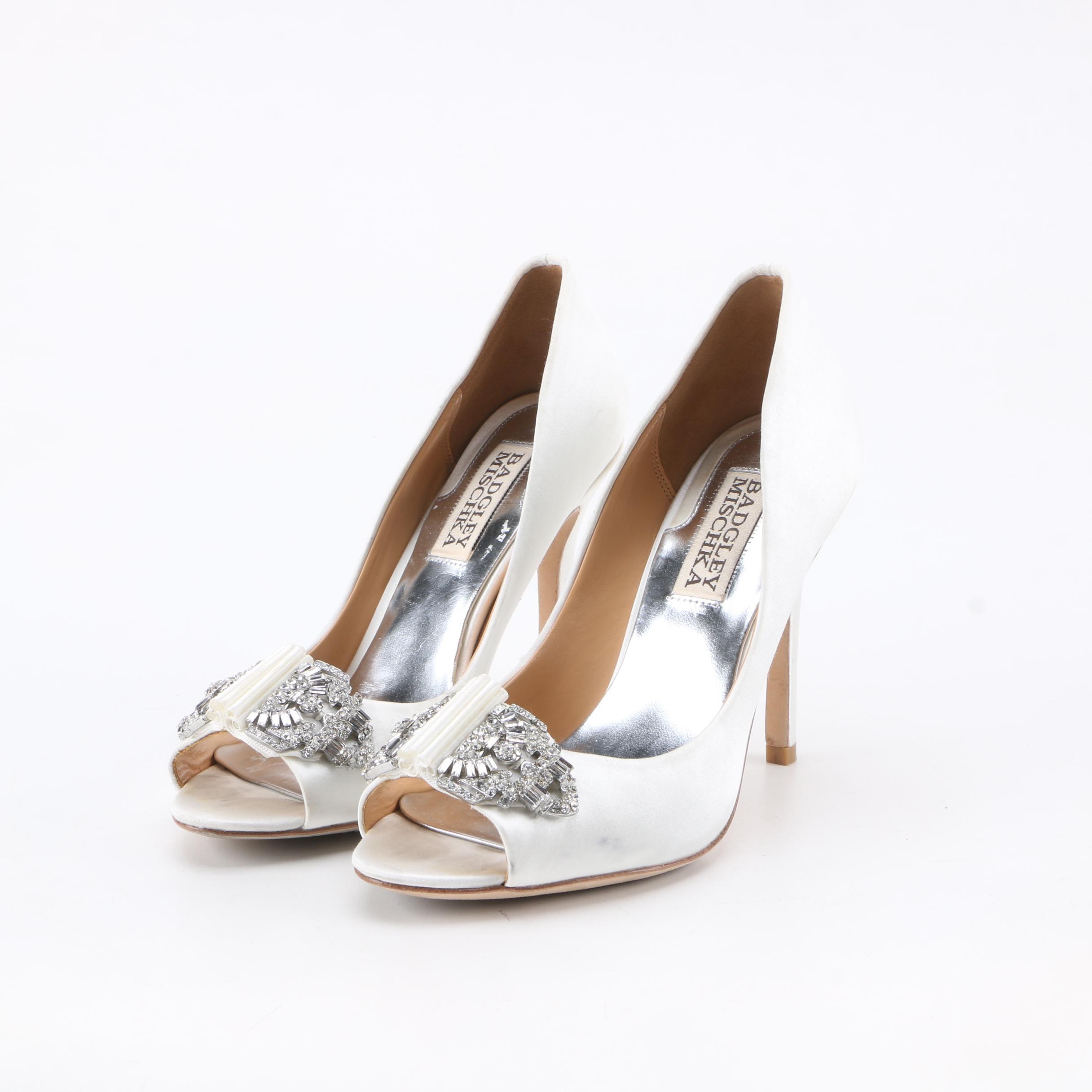 Badgley Mischka White Satin Peep-Toe High Heel Dress Pumps with Rhinestones