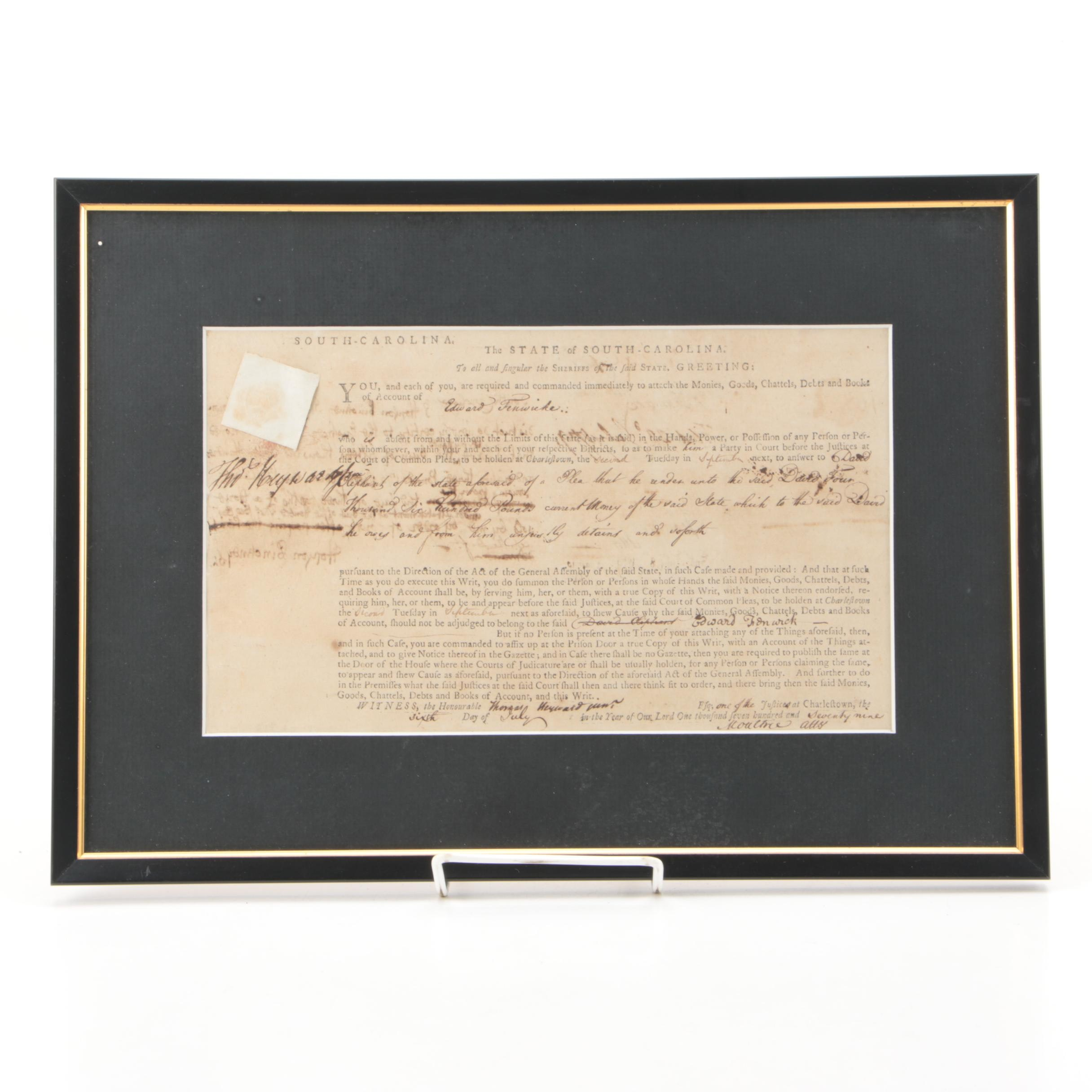 Thomas Heyward Jr. Document Signed Regarding Loyalist Fenwicke July 6, 1779