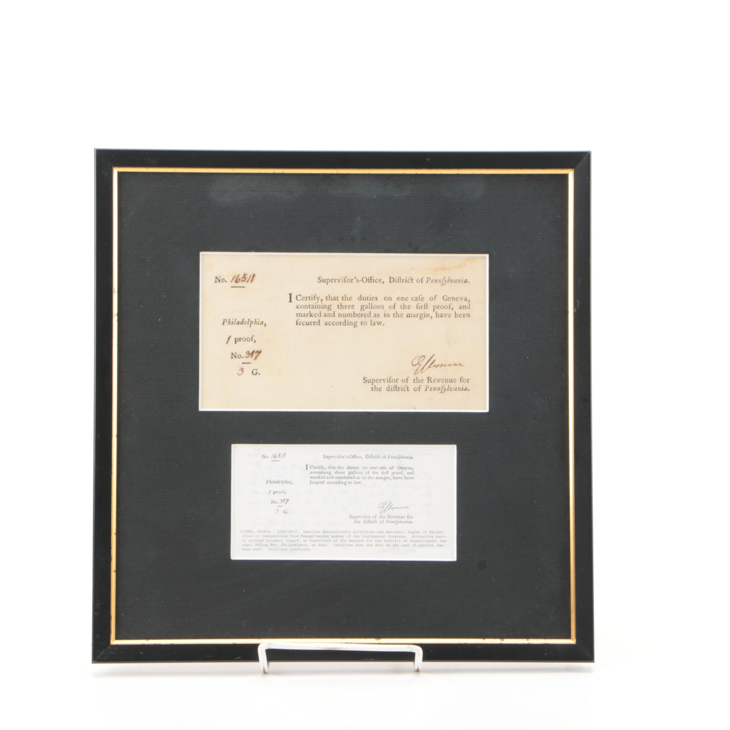 """George Clymer Document Signed Recognizing Taxes Paid on """"Spirits"""""""