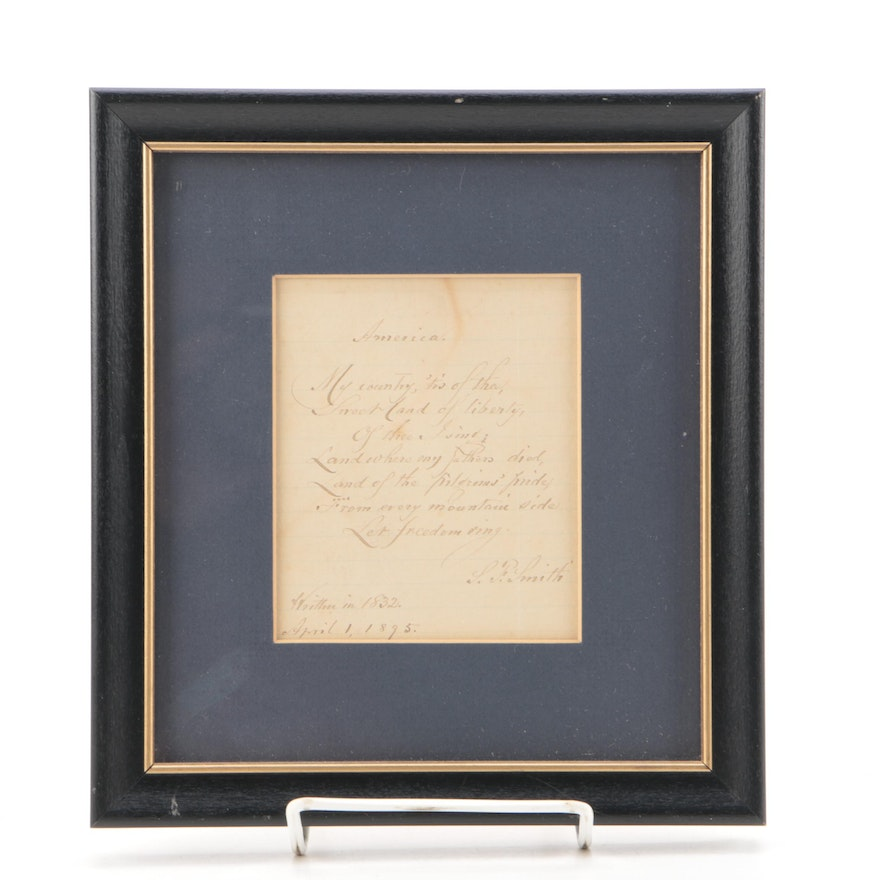 "Samuel F. Smith Autographed First Verse of ""America: My Country, 'Tis of Thee"""