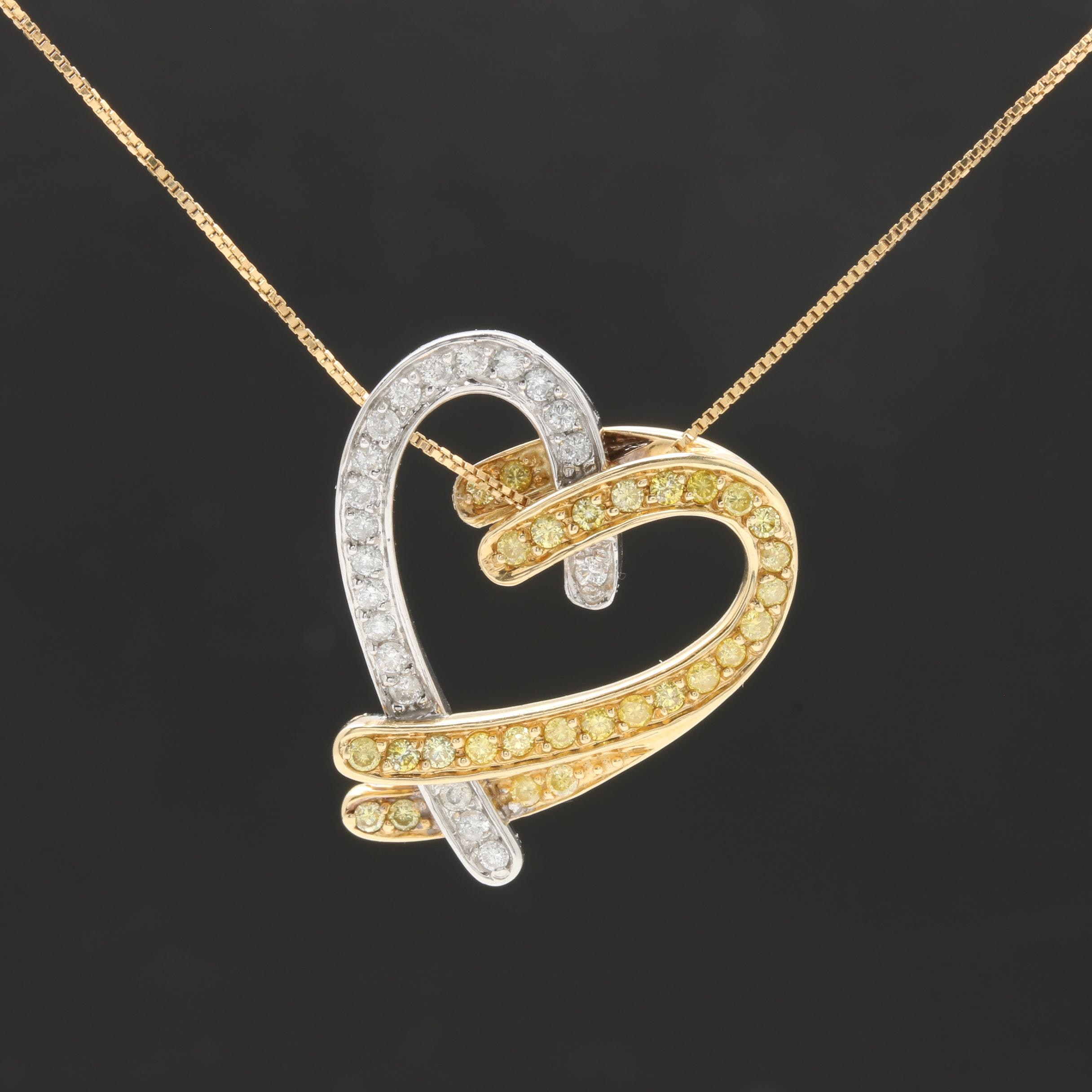 14K Yellow Gold Diamond Heart Pendant Necklace with 14K White Gold Accents