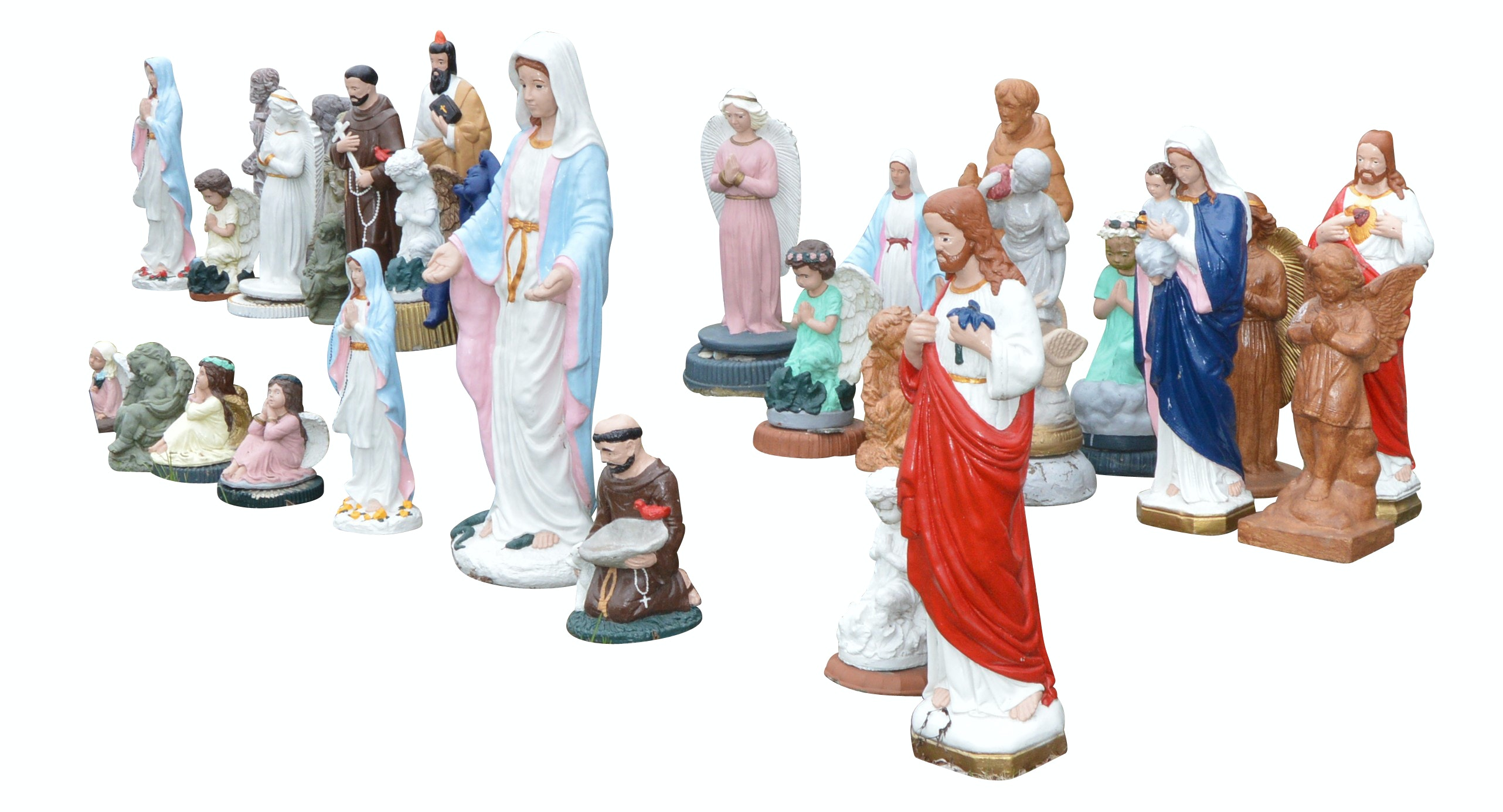 Religious Concrete Statues and Outdoor Benches