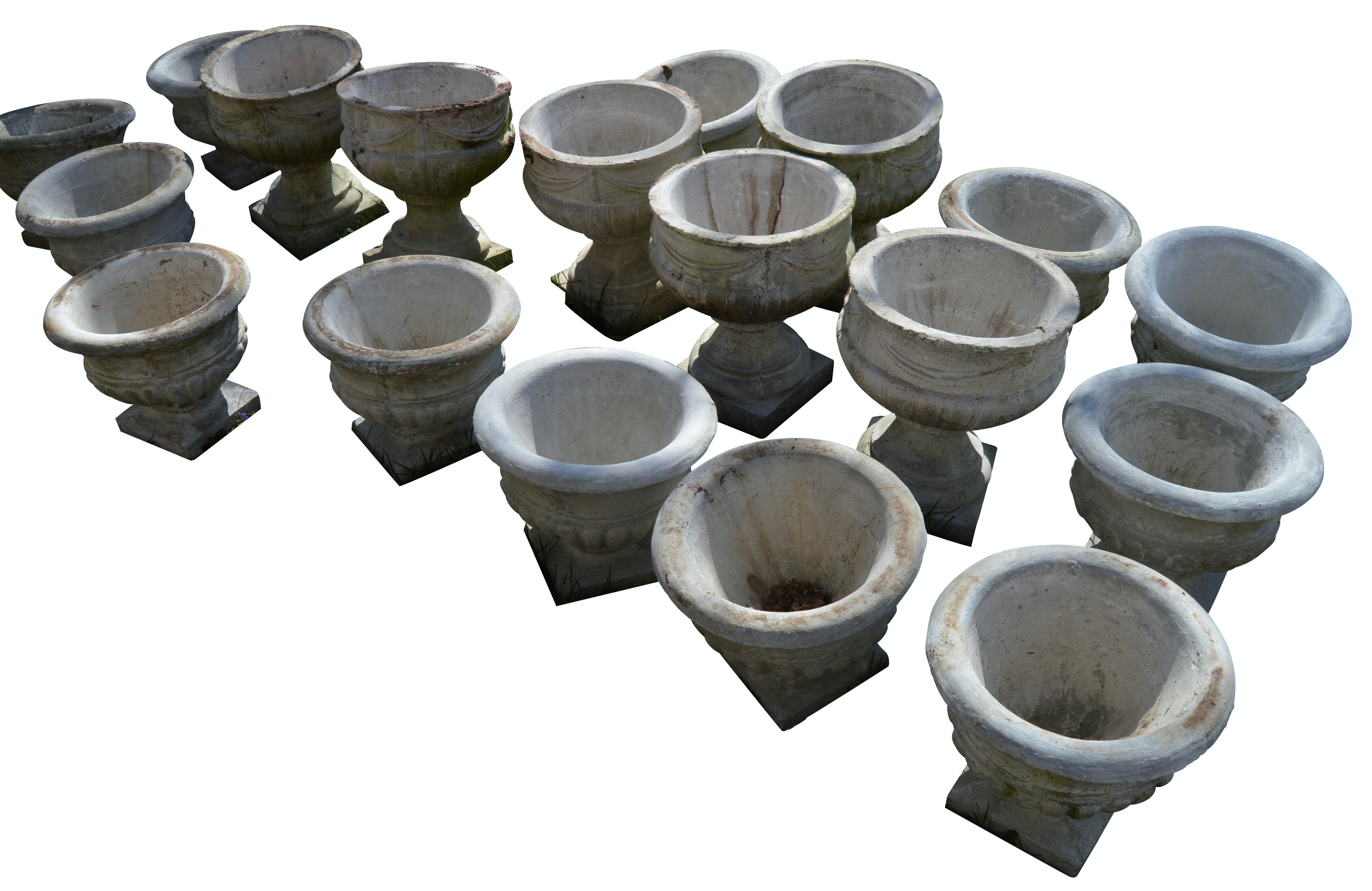 Large Assortment of Round Concrete Planters