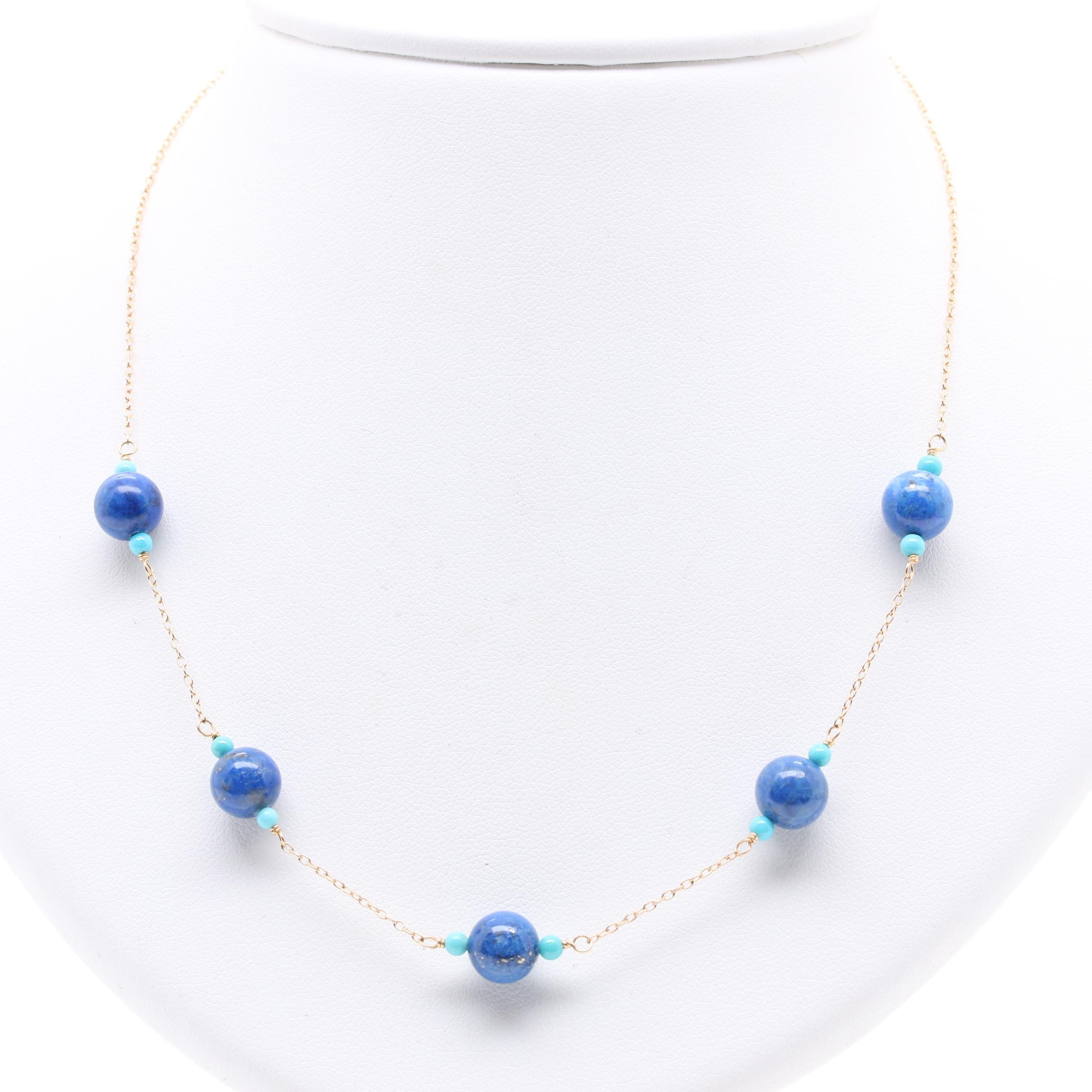 Zoe B 14K Yellow Gold Lapis Lazuli and Turquoise Stationary Necklace