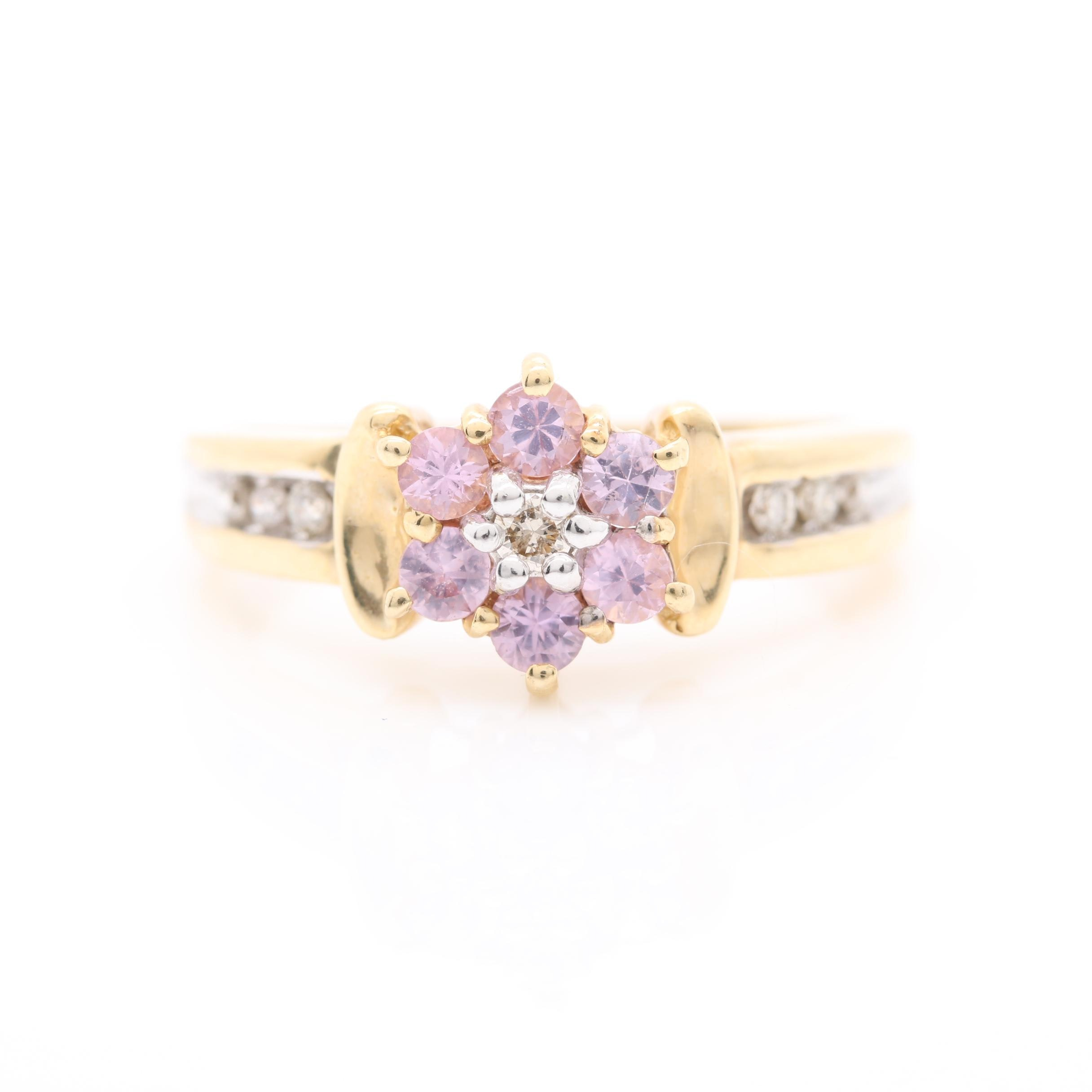 14K Yellow Gold Pink Sapphire and Diamond Ring with 14K White Gold Accents