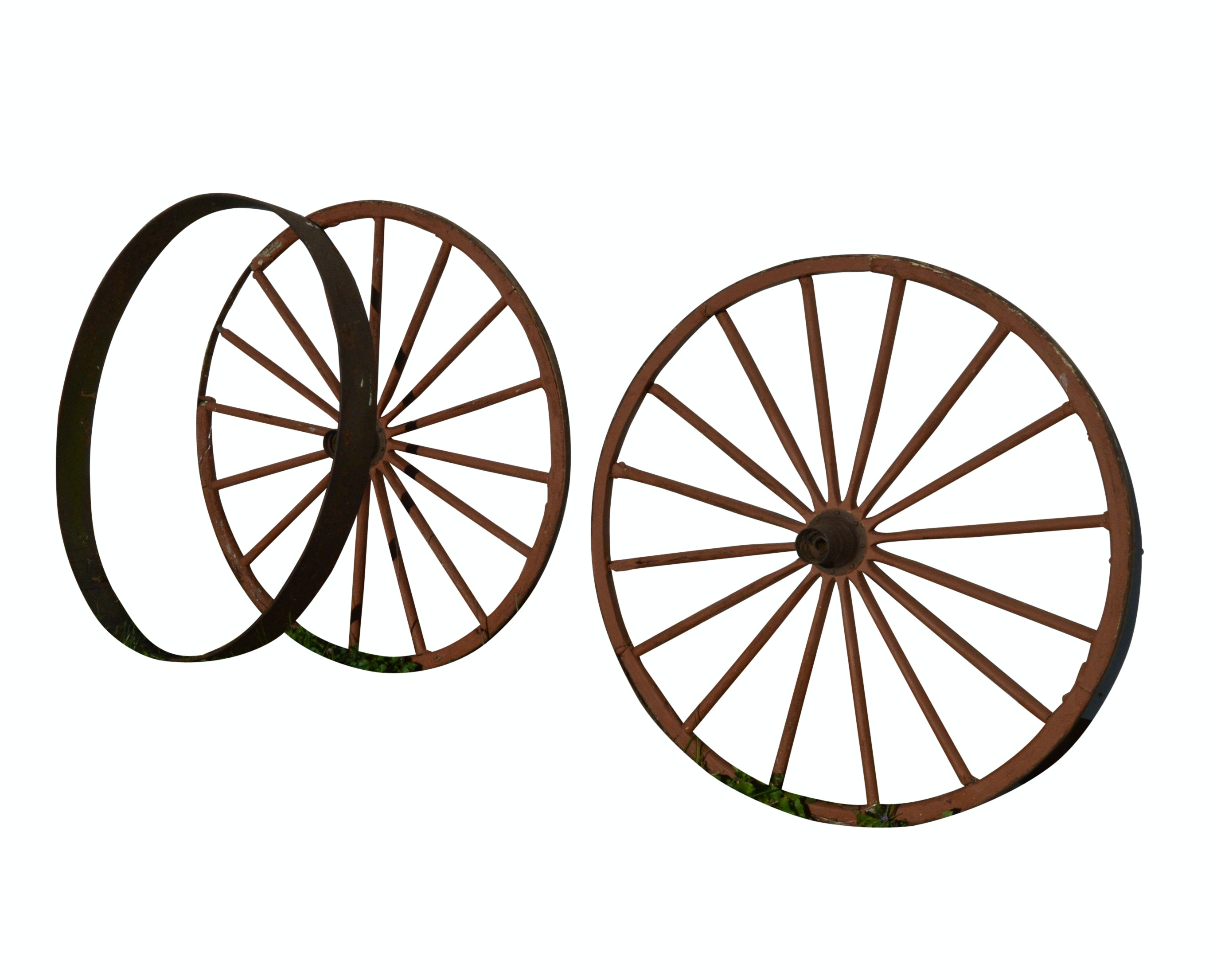 Vintage Wooden Wagon Wheels with Steel Wagon Tire