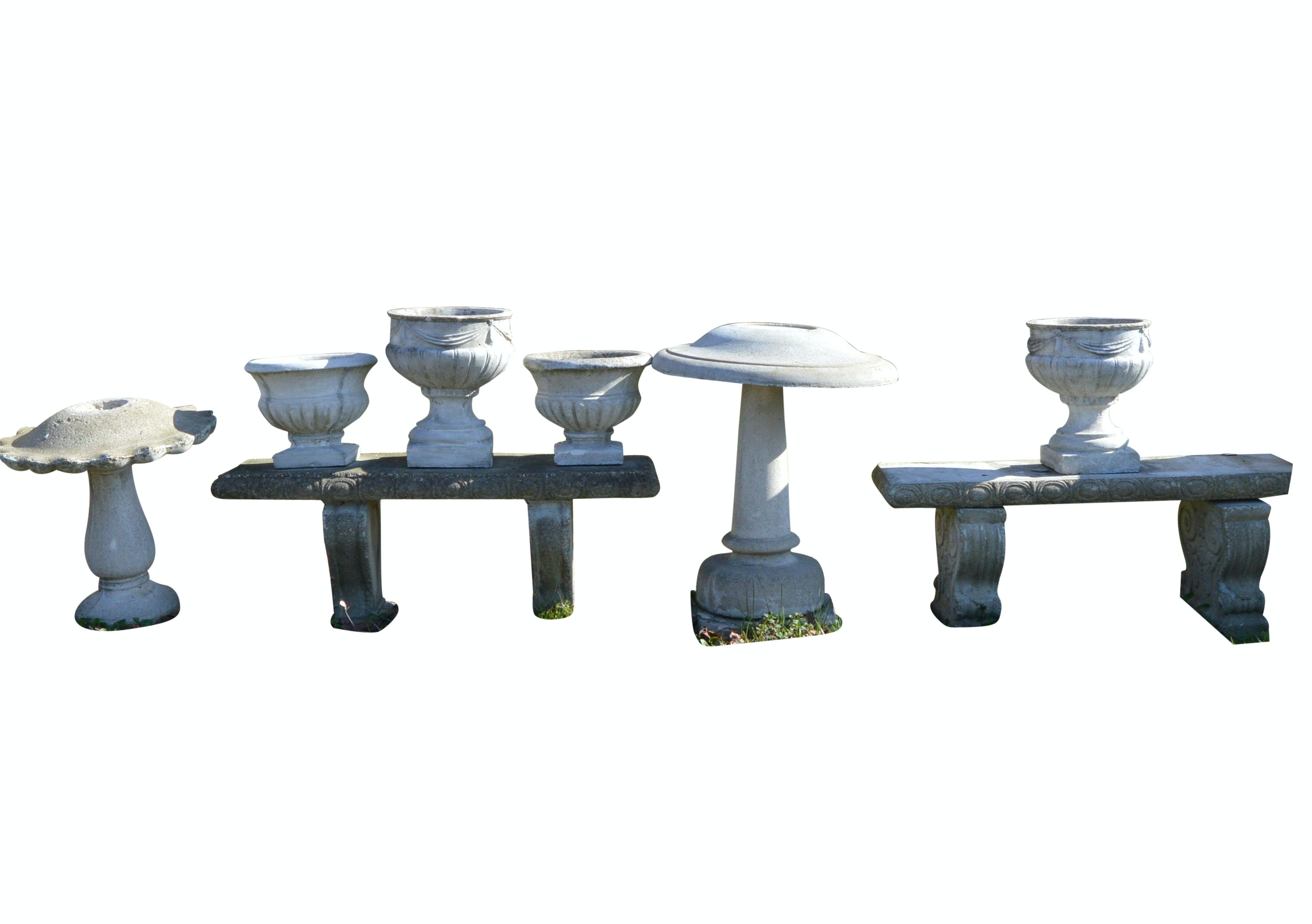 Concrete Benches, Planters and Birdbaths