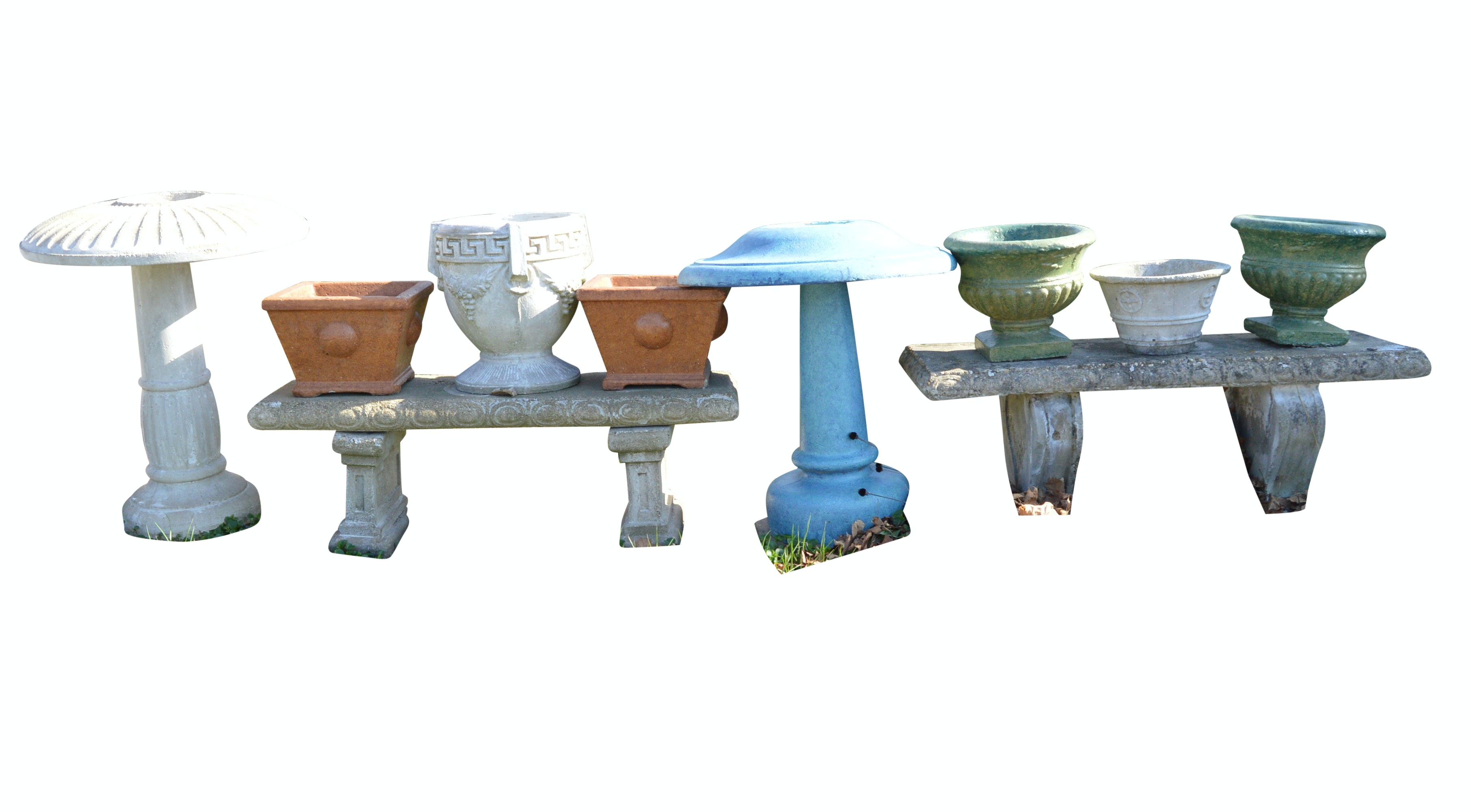 Collection of Concrete Benches, Birdbaths and Planters