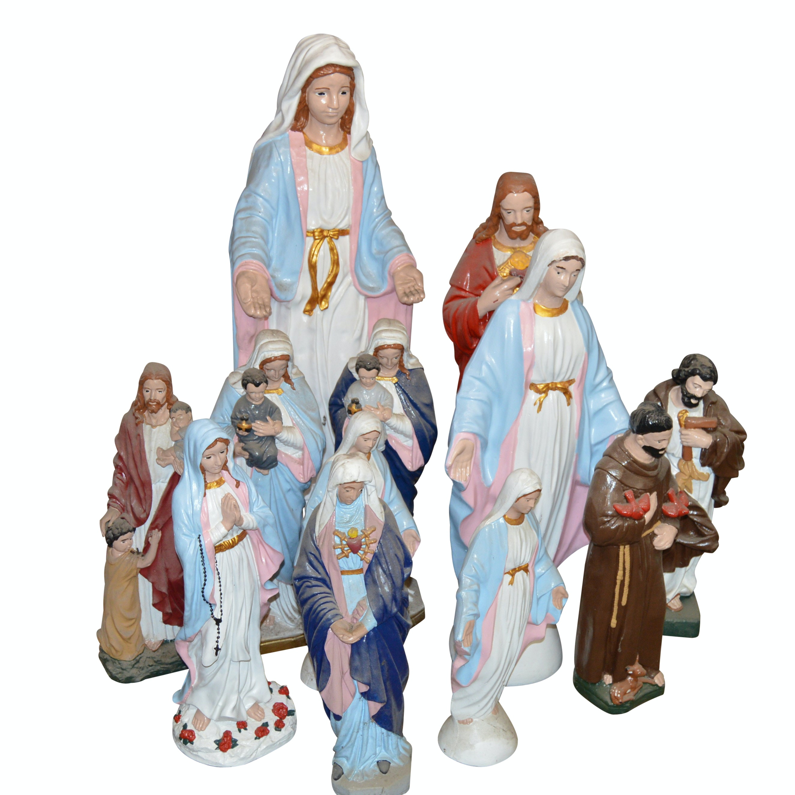 Religious Garden Statuettes Including Jesus and Mary