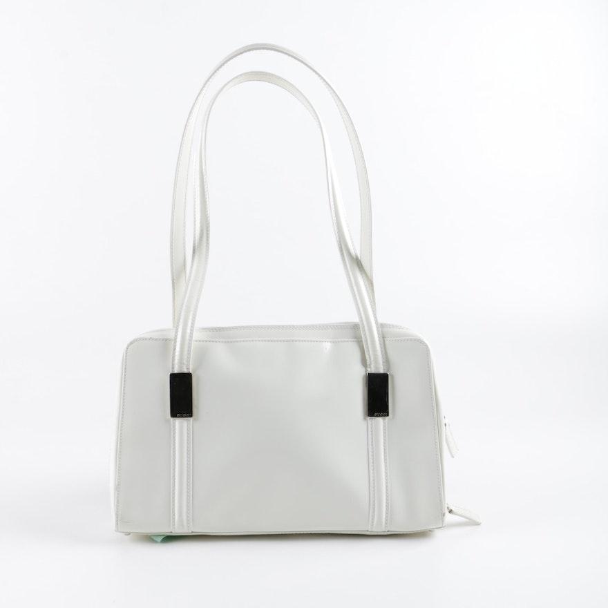 Gucci White Glazed Leather Shoulder Bag   EBTH 59cd4a0e92