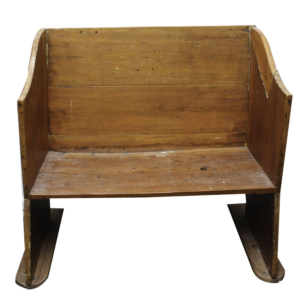 Antique Handcrafted Pine Settle Bench