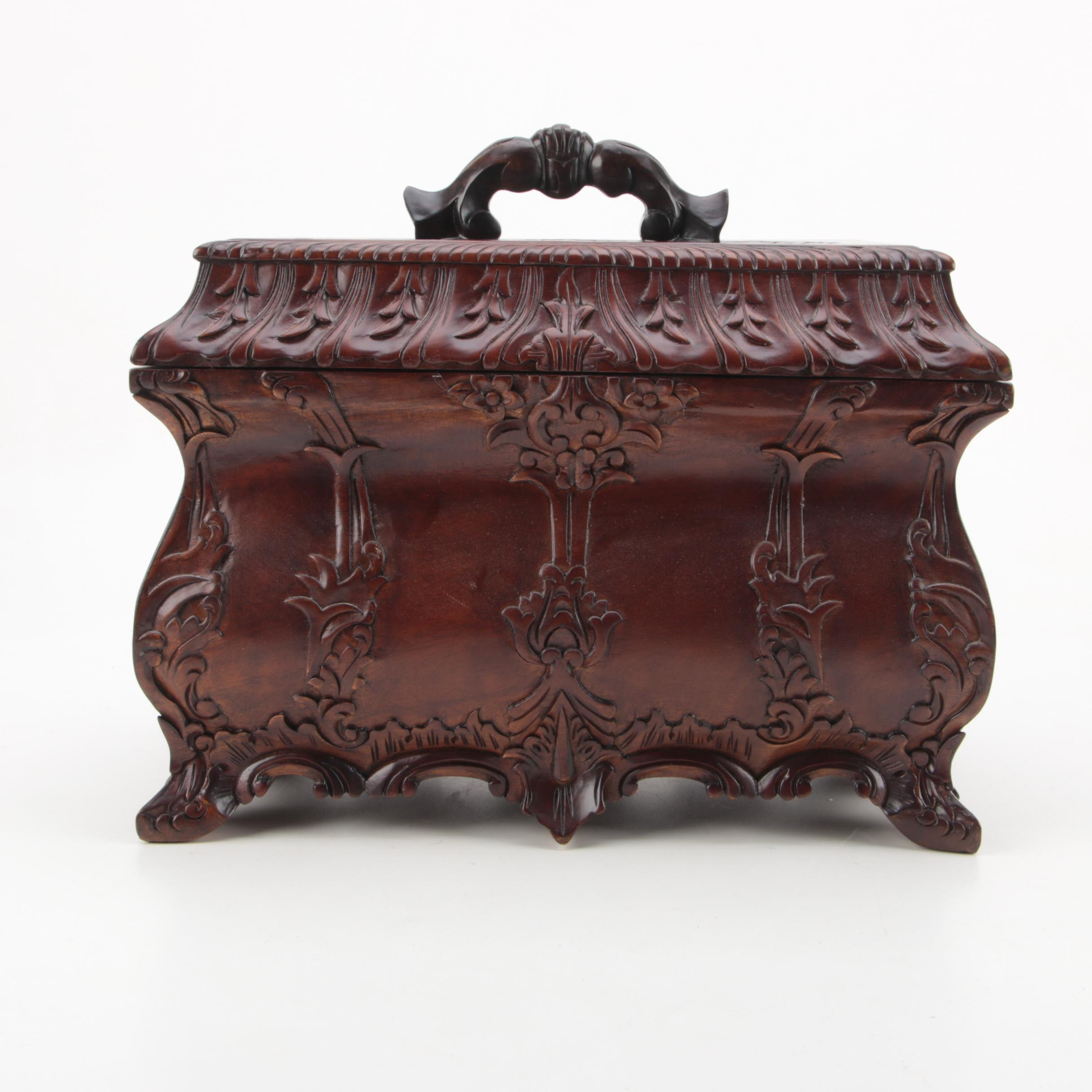 Contemporary Carved Mahogany Tea Caddy